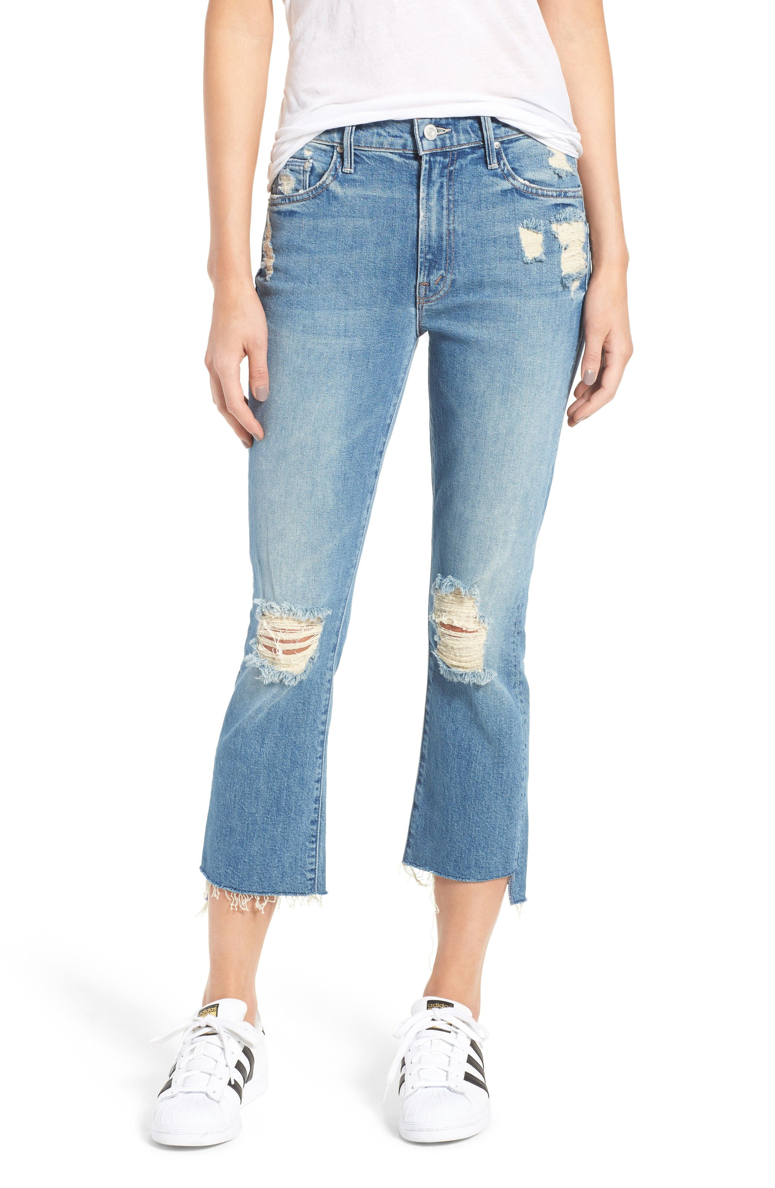 MOTHER The Insider Step Hem Crop Bootcut Jeans (Hijacking the Runway)
