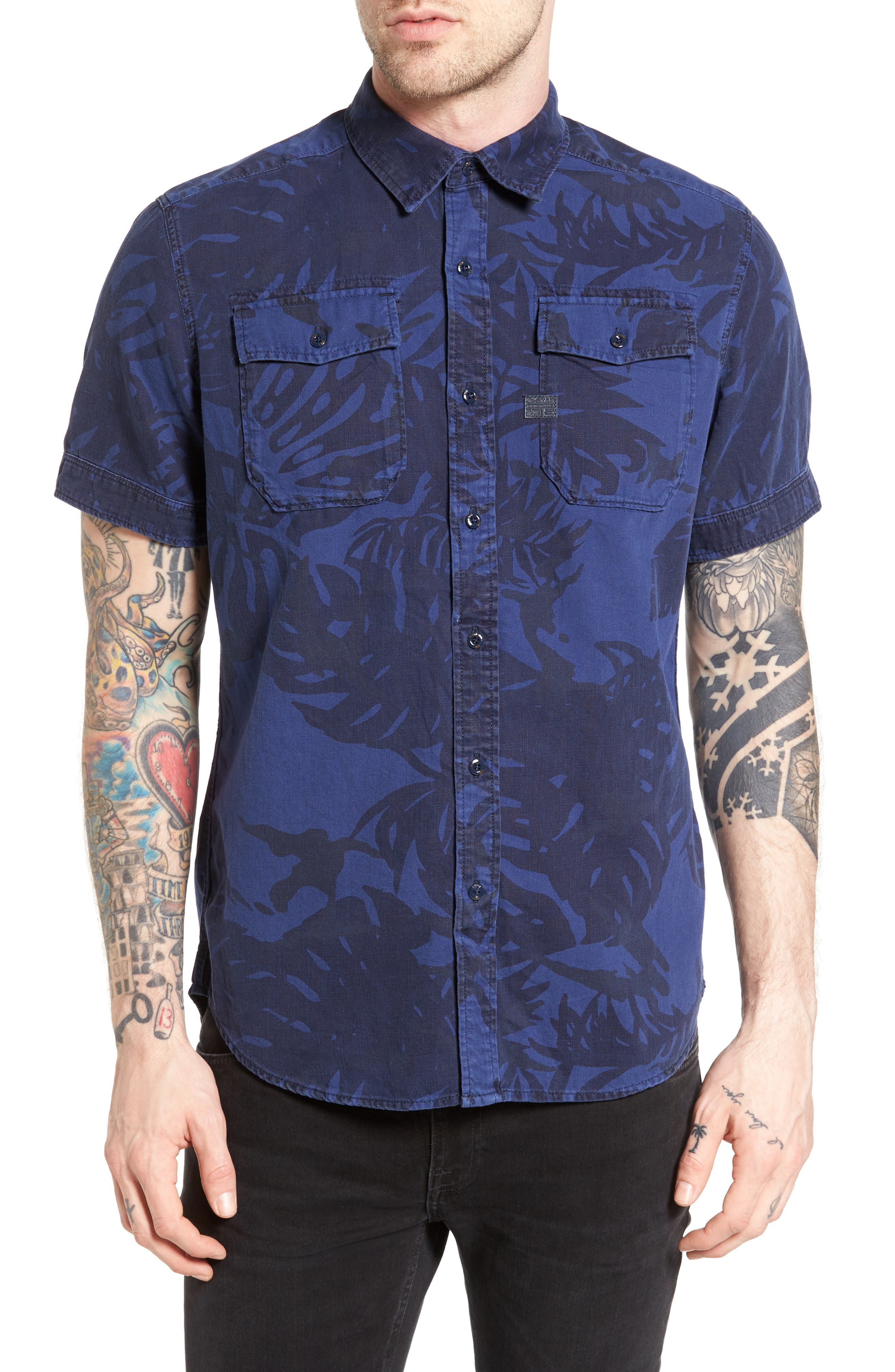G-Star Raw Landoh Palm Leaf Woven Shirt