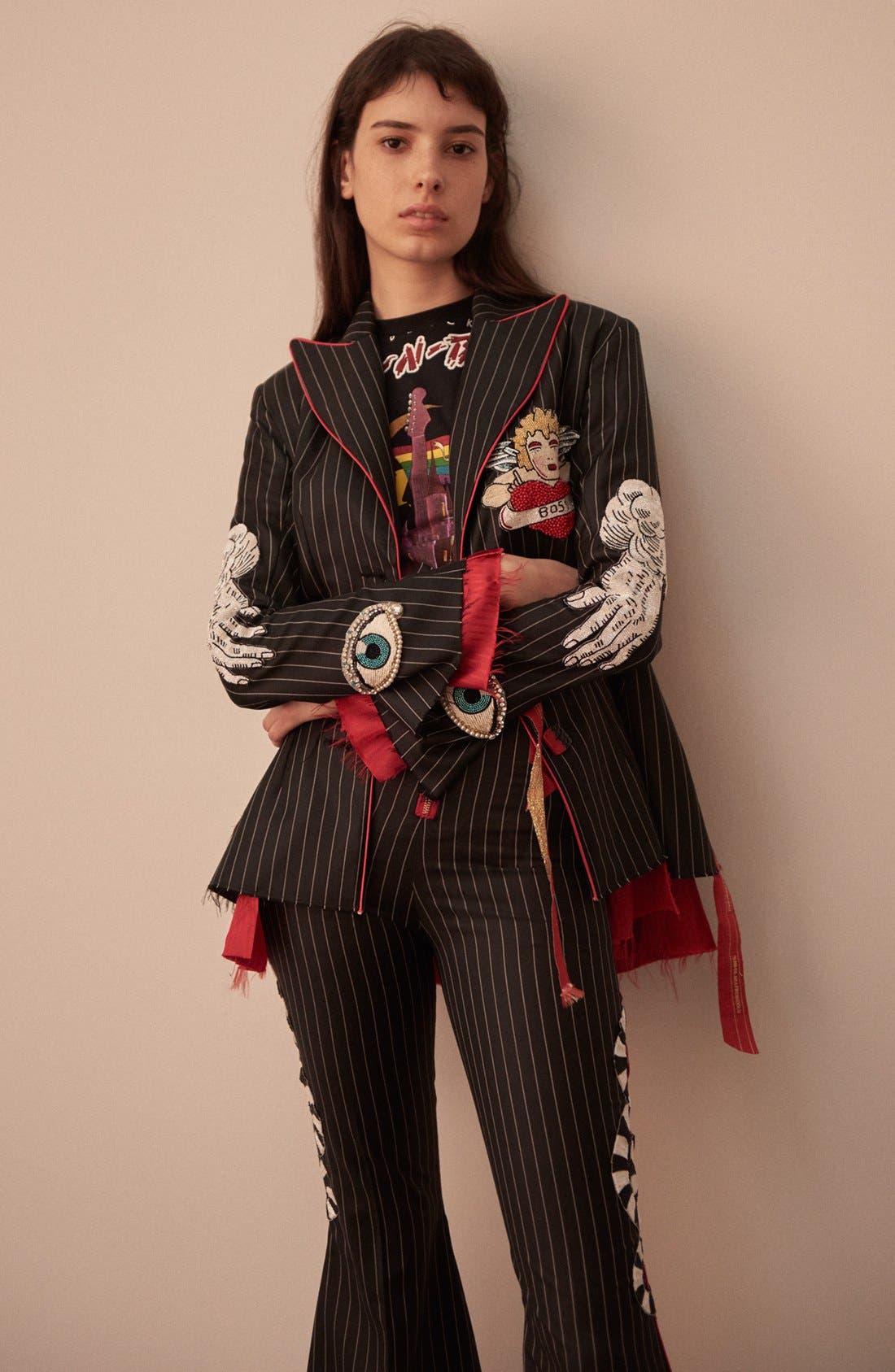 Alternate Image 7  - Dilara Findikoglu Embellished Pinstripe Suit Jacket