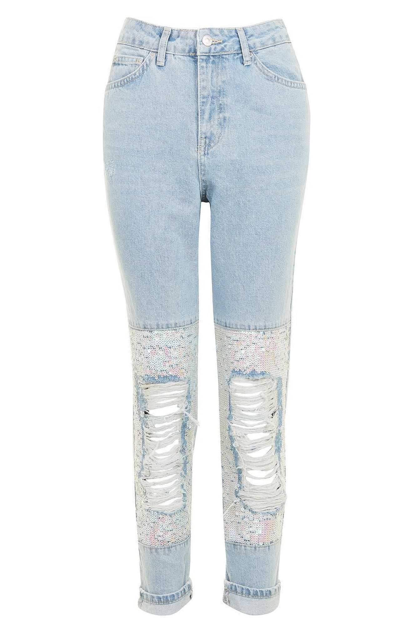 Alternate Image 4  - Topshop Ripped Sequin Knee Mom Jeans (Regular & Petite)