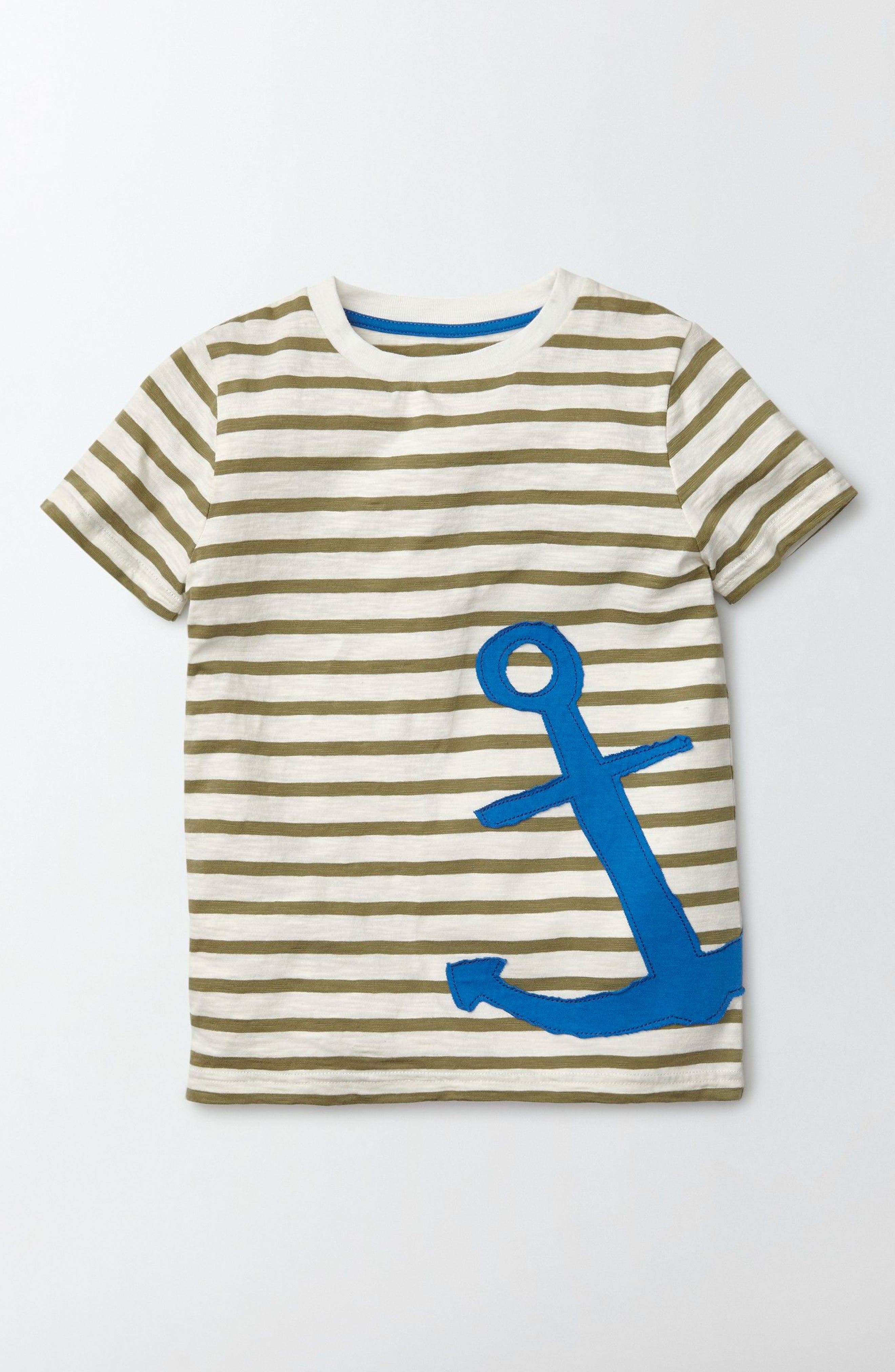 Mini Boden Stripe Appliqué T-Shirt (Toddler Boys, Little Boys & Big Boys)
