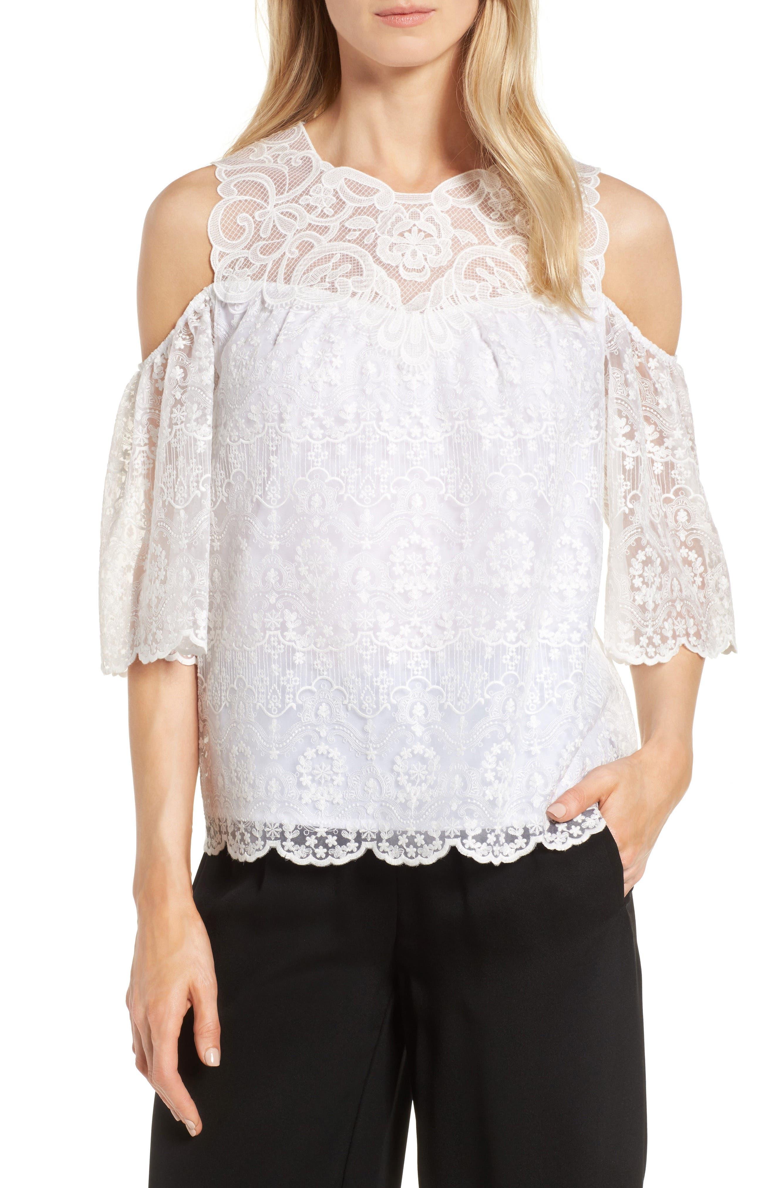 Kobi Halperin Klarissa Embroidered Silk Cold Shoulder Blouse
