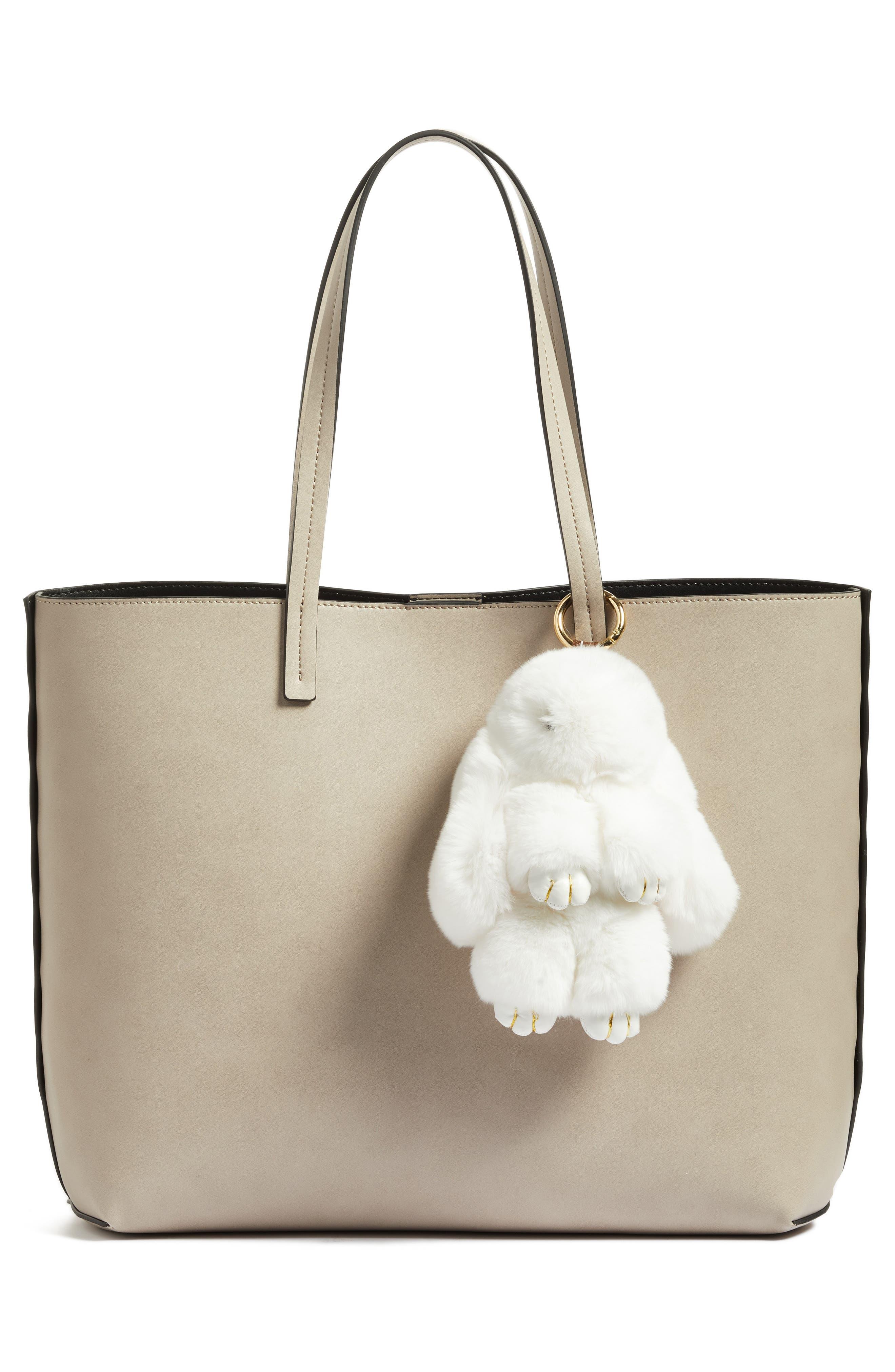 Alternate Image 2  - Natasha Couture Genuine Rabbit Fur Bag Charm