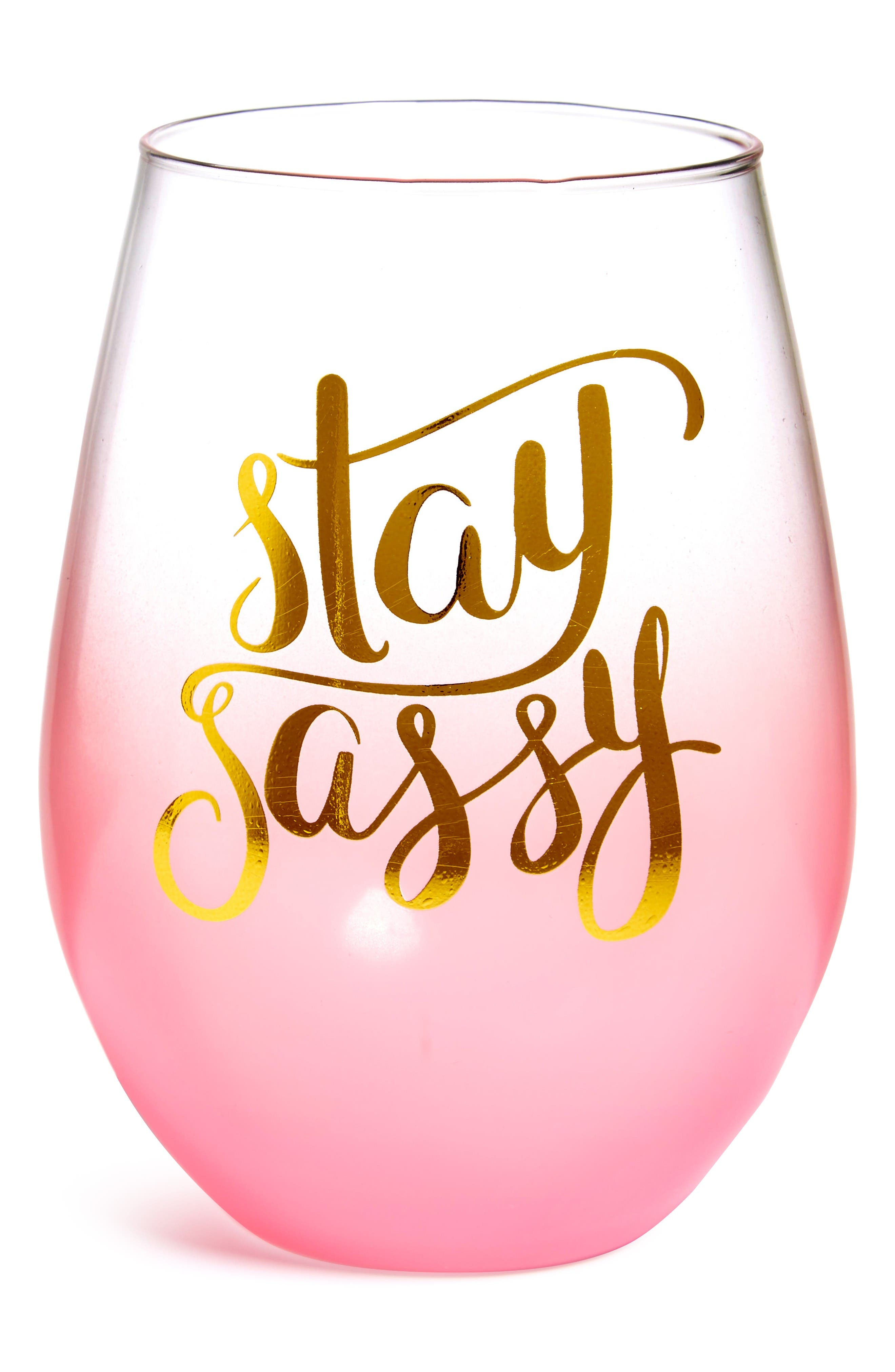 Slant Collections Stay Sassy Stemless Wine Glass