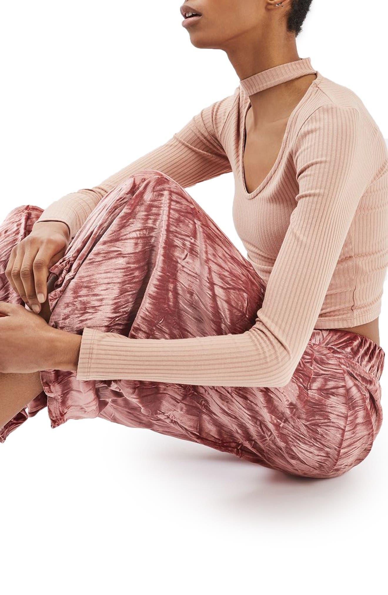 Alternate Image 5  - Topshop Crushed Velvet Trousers