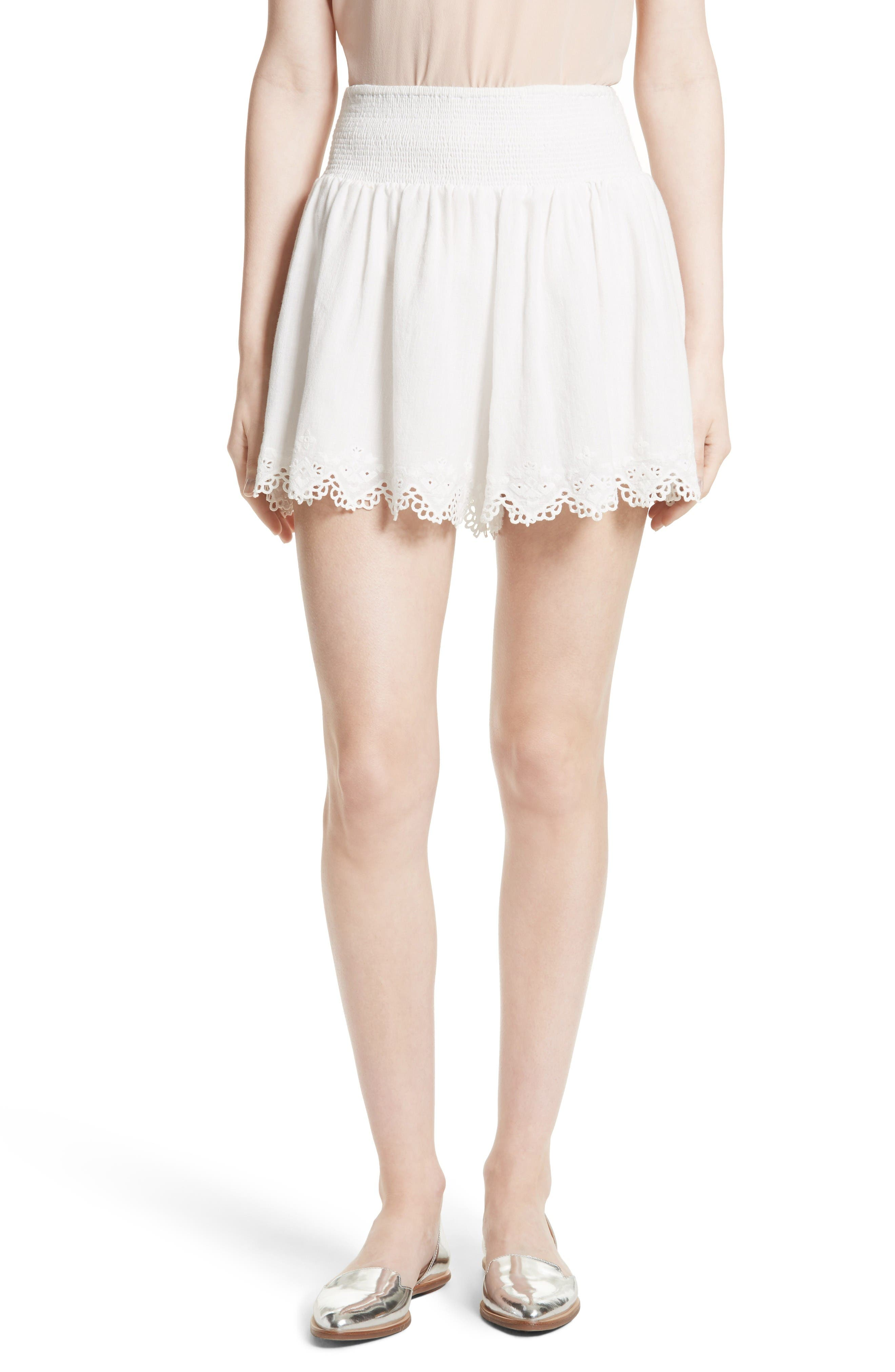 Rebecca Taylor Amora Embroidered Cotton Shorts
