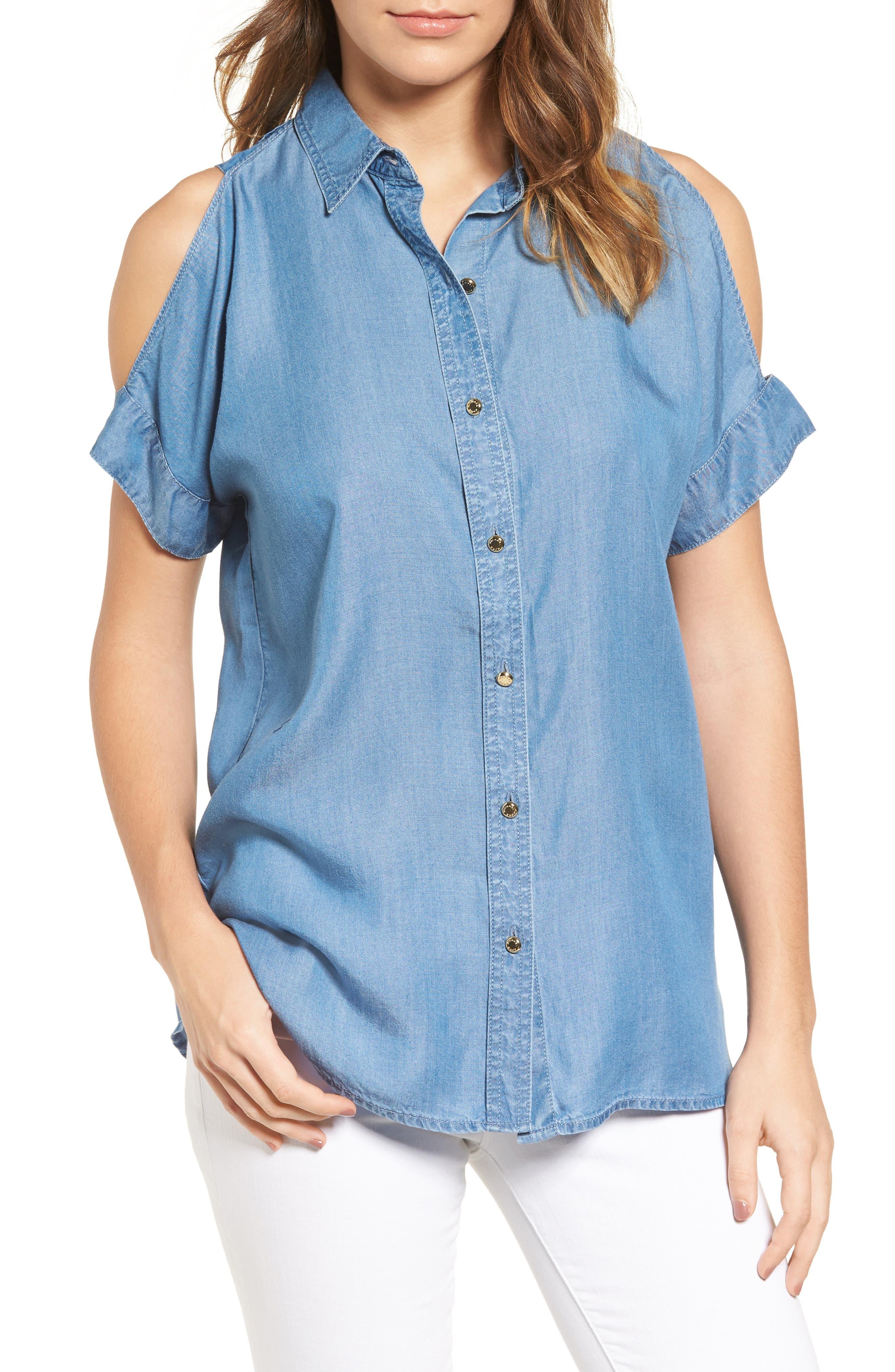 MICHAEL Michael Kors Chambray Cold Shoulder Shirt (Regular & Petite)
