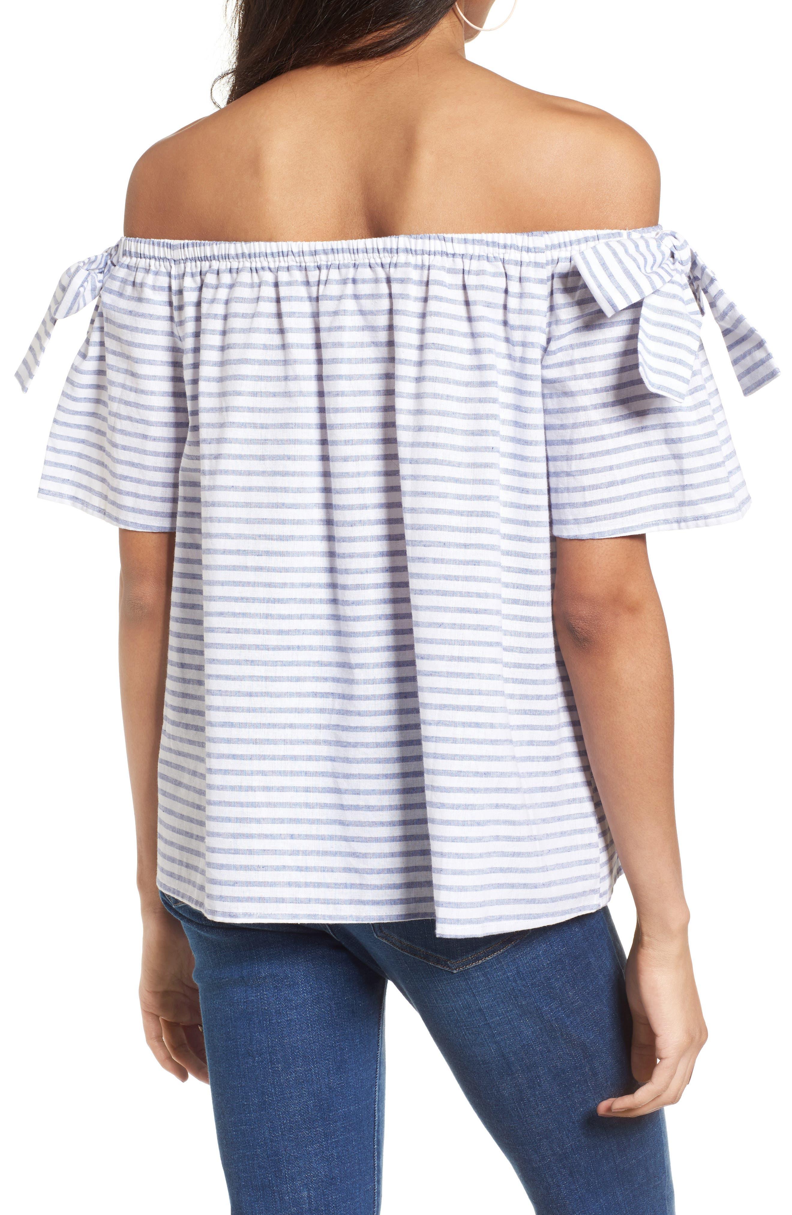 Alternate Image 2  - Soprano Stripe Cotton & Linen Off the Shoulder Top