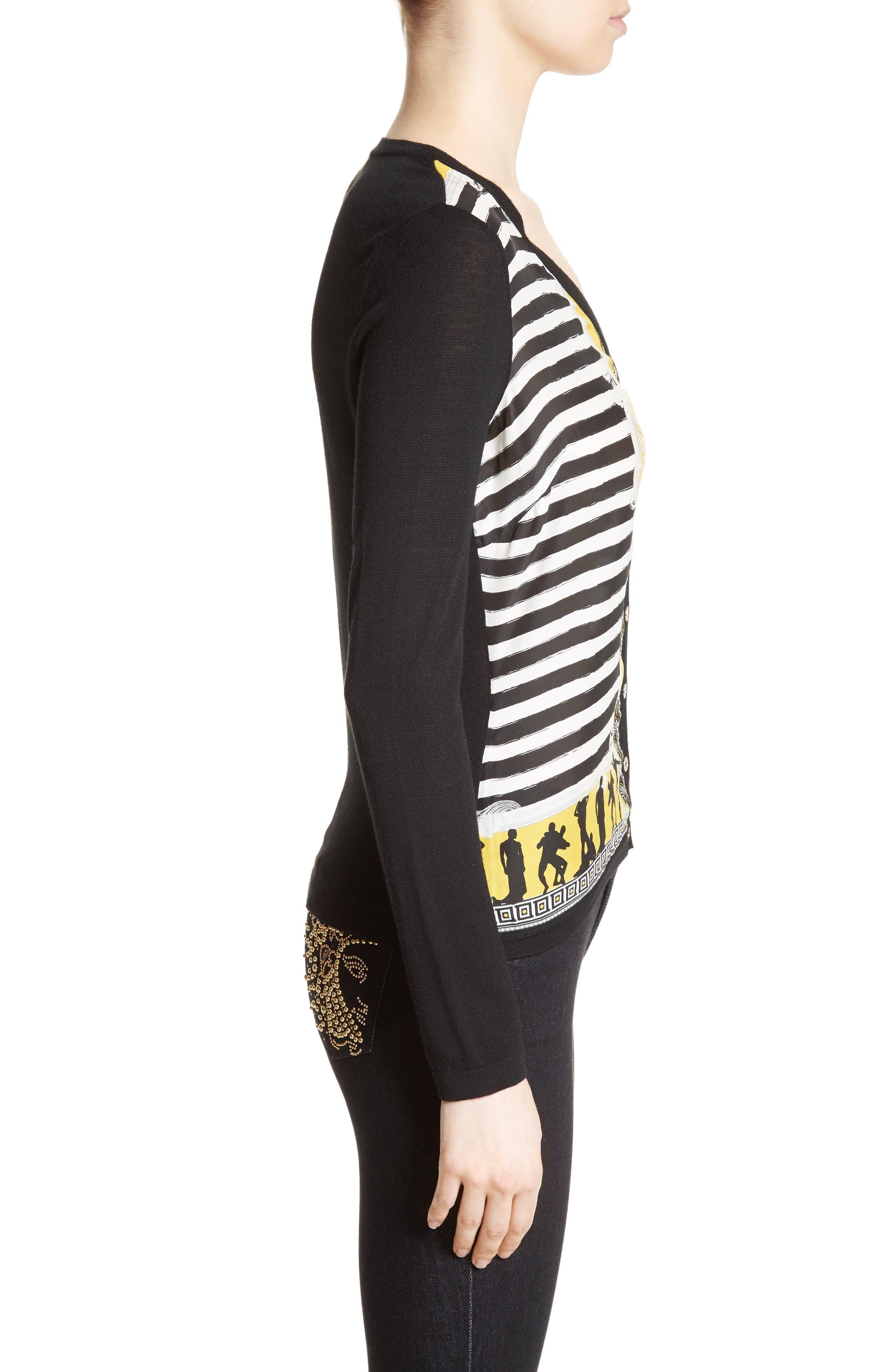 Alternate Image 5  - Versace Collection Catwalk Print Silk & Wool Cardigan