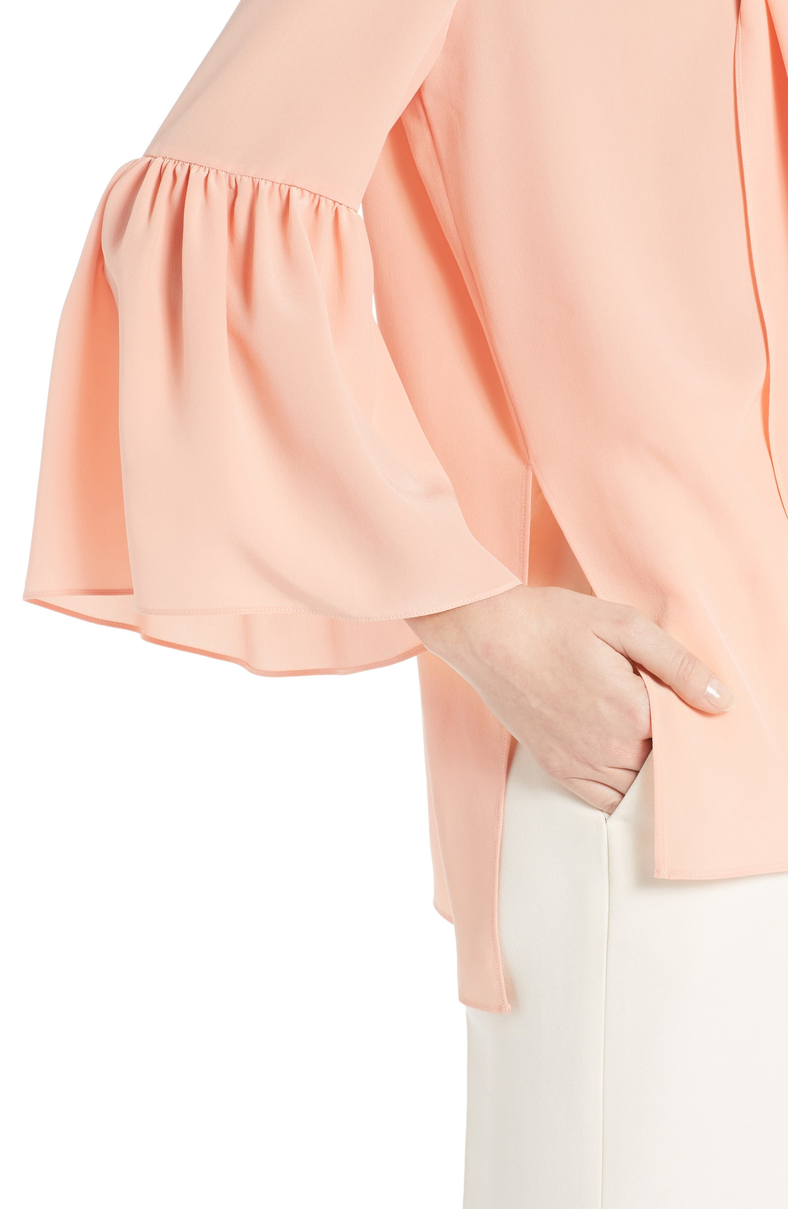 Alternate Image 6  - Fendi Silk Bell Sleeve Tie Neck Blouse