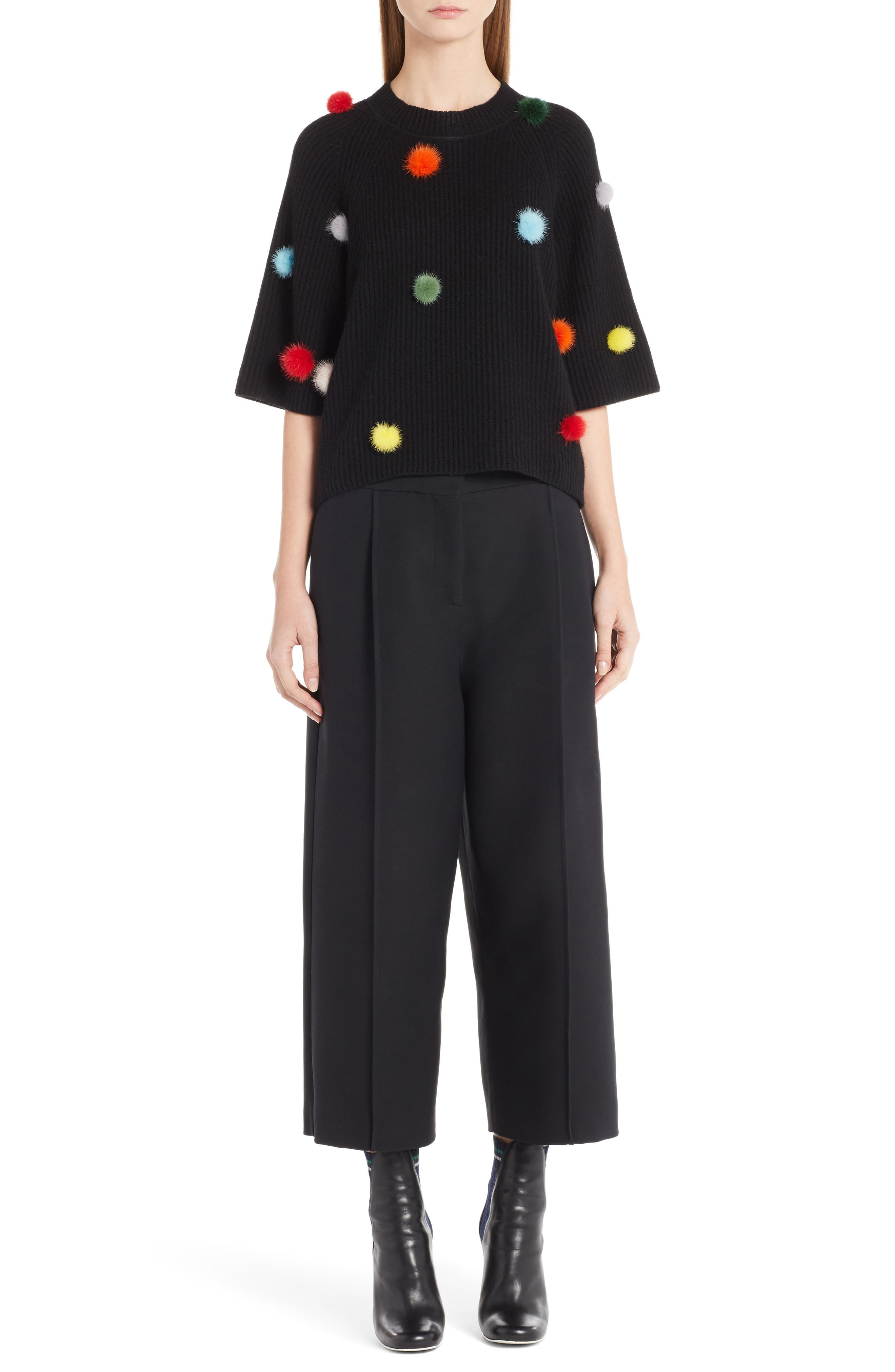 Fendi Cashmere Sweater with Genuine Mink Fur Pompoms