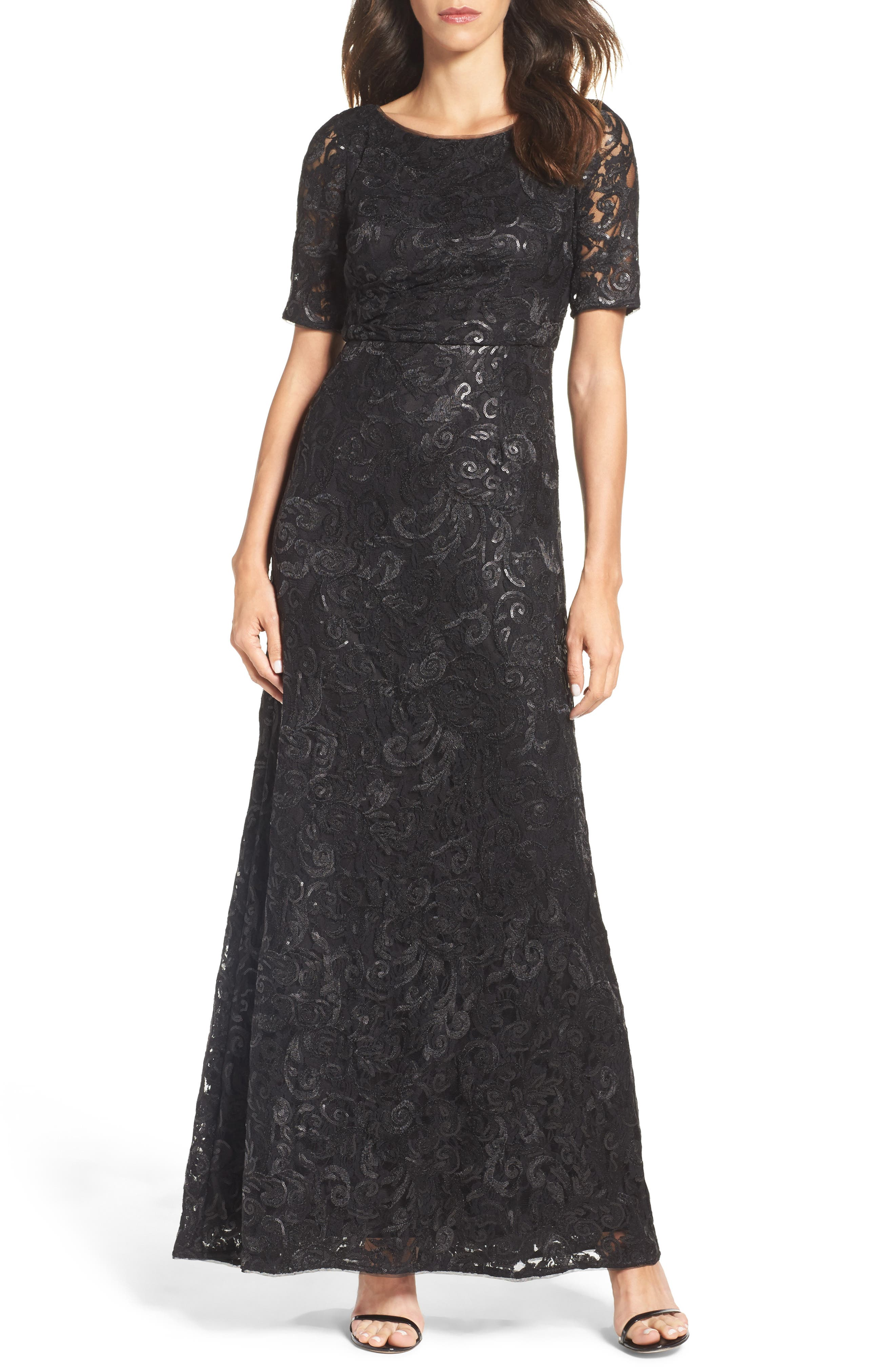 Adrianna Papell Sequin & Tulle Gown (Regular & Petite)