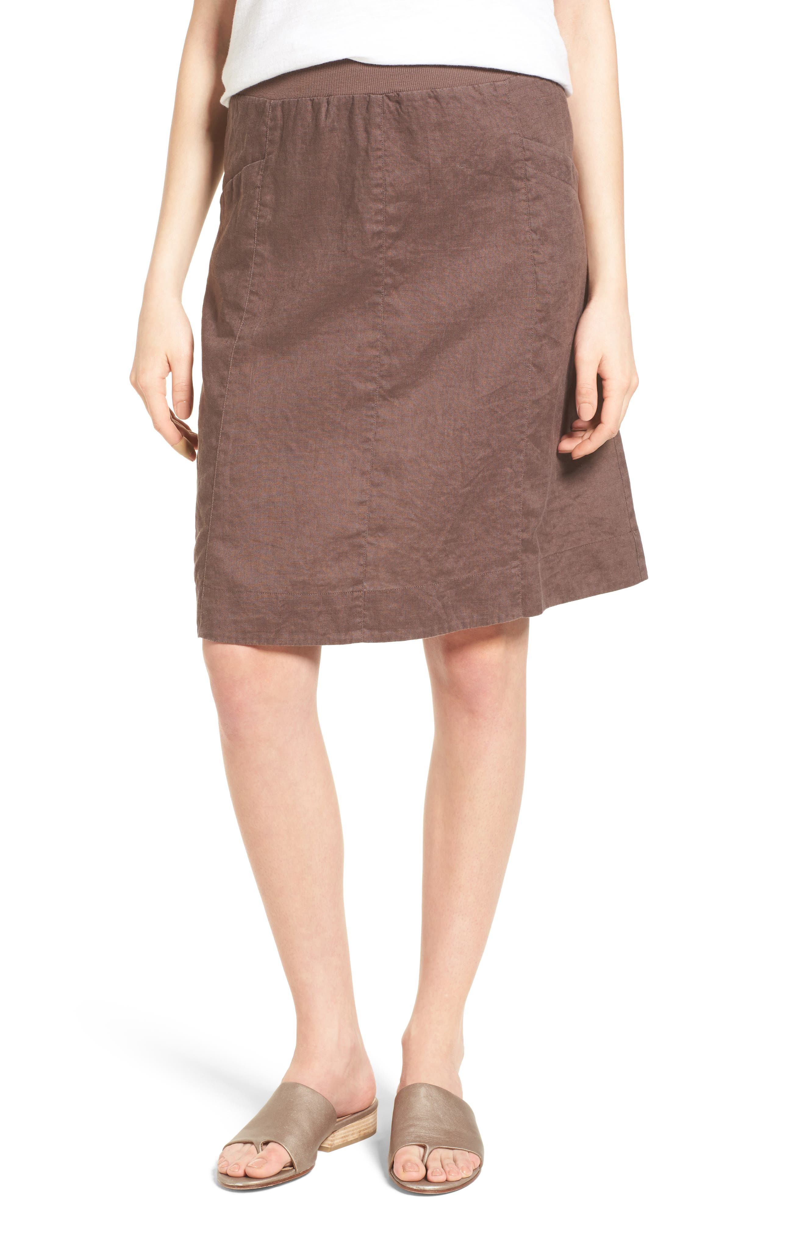 Eileen Fisher Organic Linen Knee Length Skirt (Regular & Petite) (Online Only)