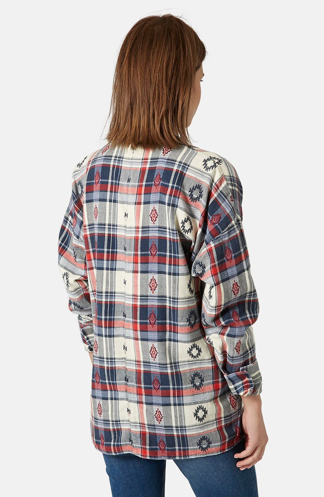 Alternate Image 2  - Topshop Check Embroidered Shirt