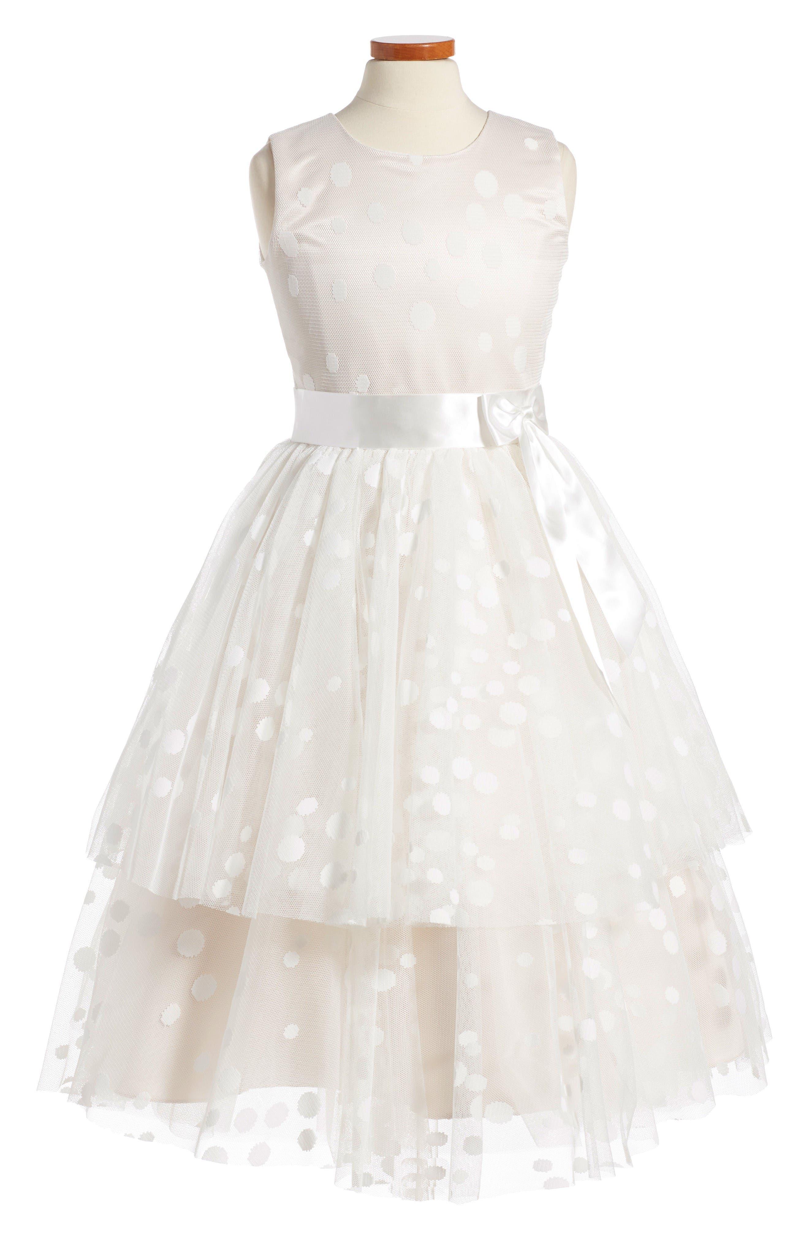 Joan Calabrese for Mon Cheri Double Layer Chiffon Dress (Toddler Girls, Little Girls & Big Girls)