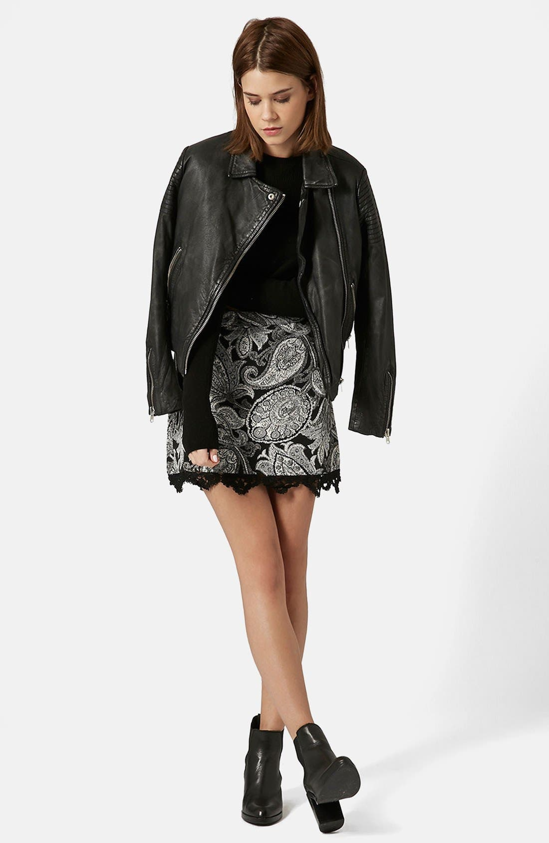 Alternate Image 5  - Topshop Jacquard Paisley Miniskirt