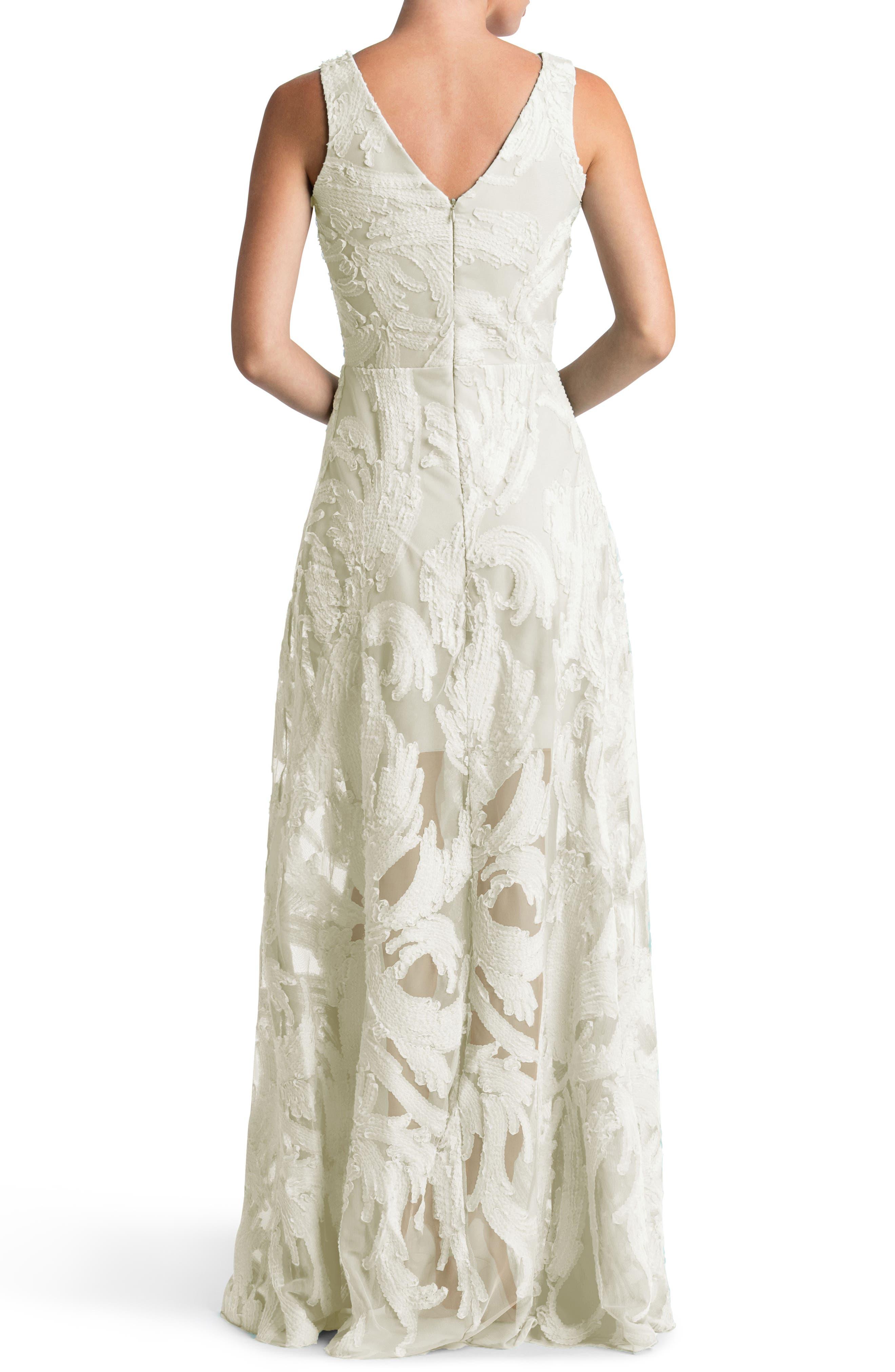 Alternate Image 2  - Dress the Population Marlene Plunging Embroidered Mesh Maxi Dress