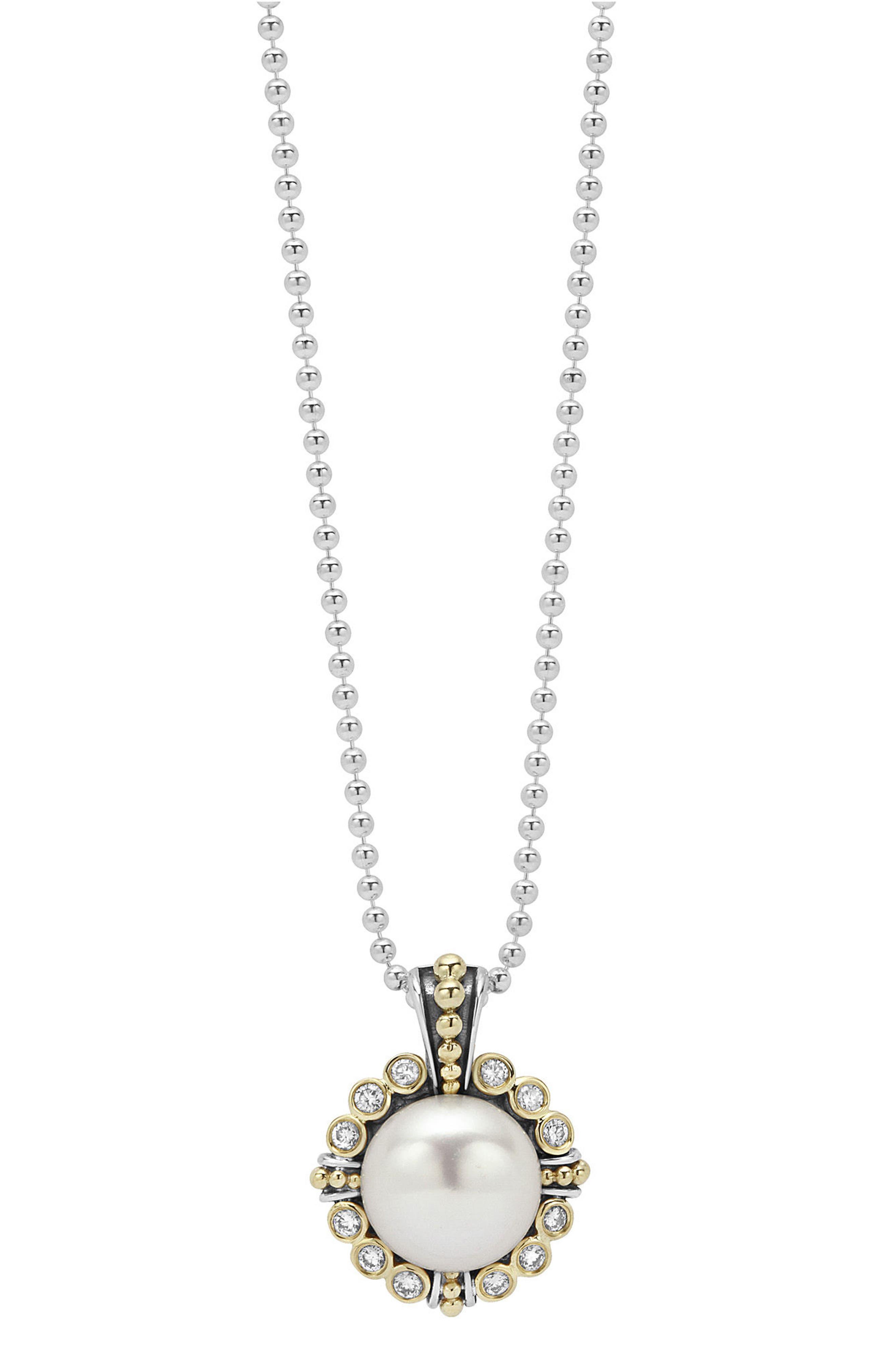 LAGOS Luna Pearl & Diamond Pendant Necklace