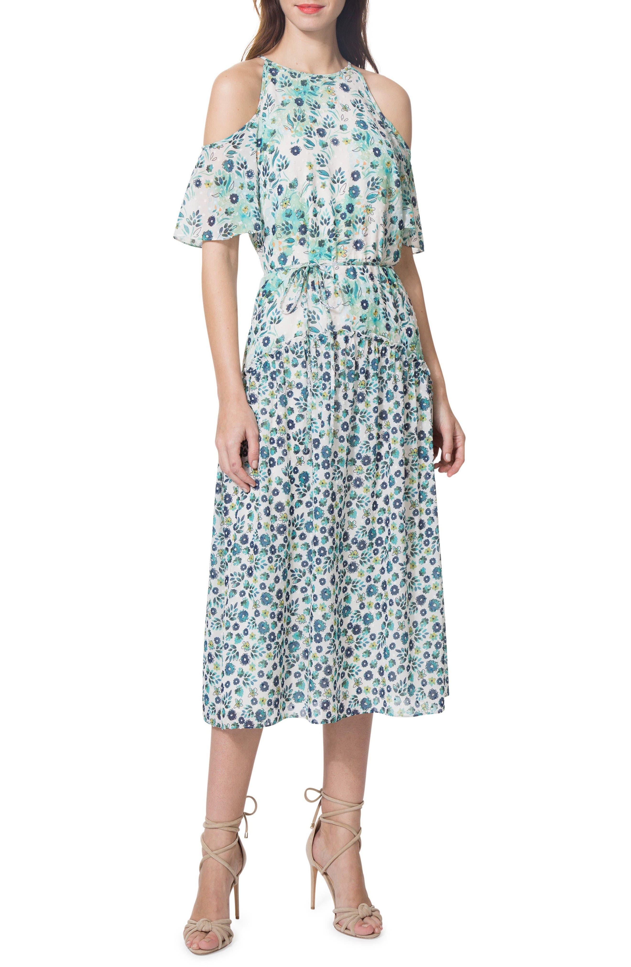 Donna Morgan Cold Shoulder Midi Dress