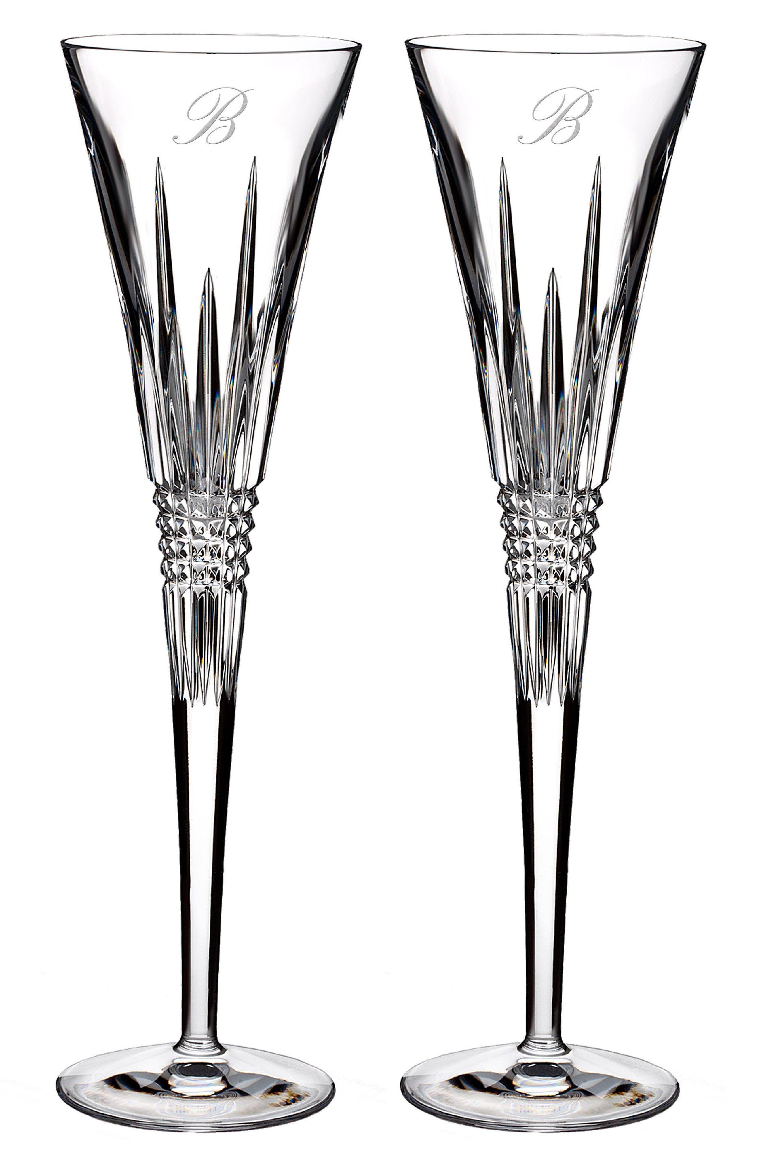 Waterford Lismore Diamond Set of 2 Monogram Lead Crystal Champagne Flutes