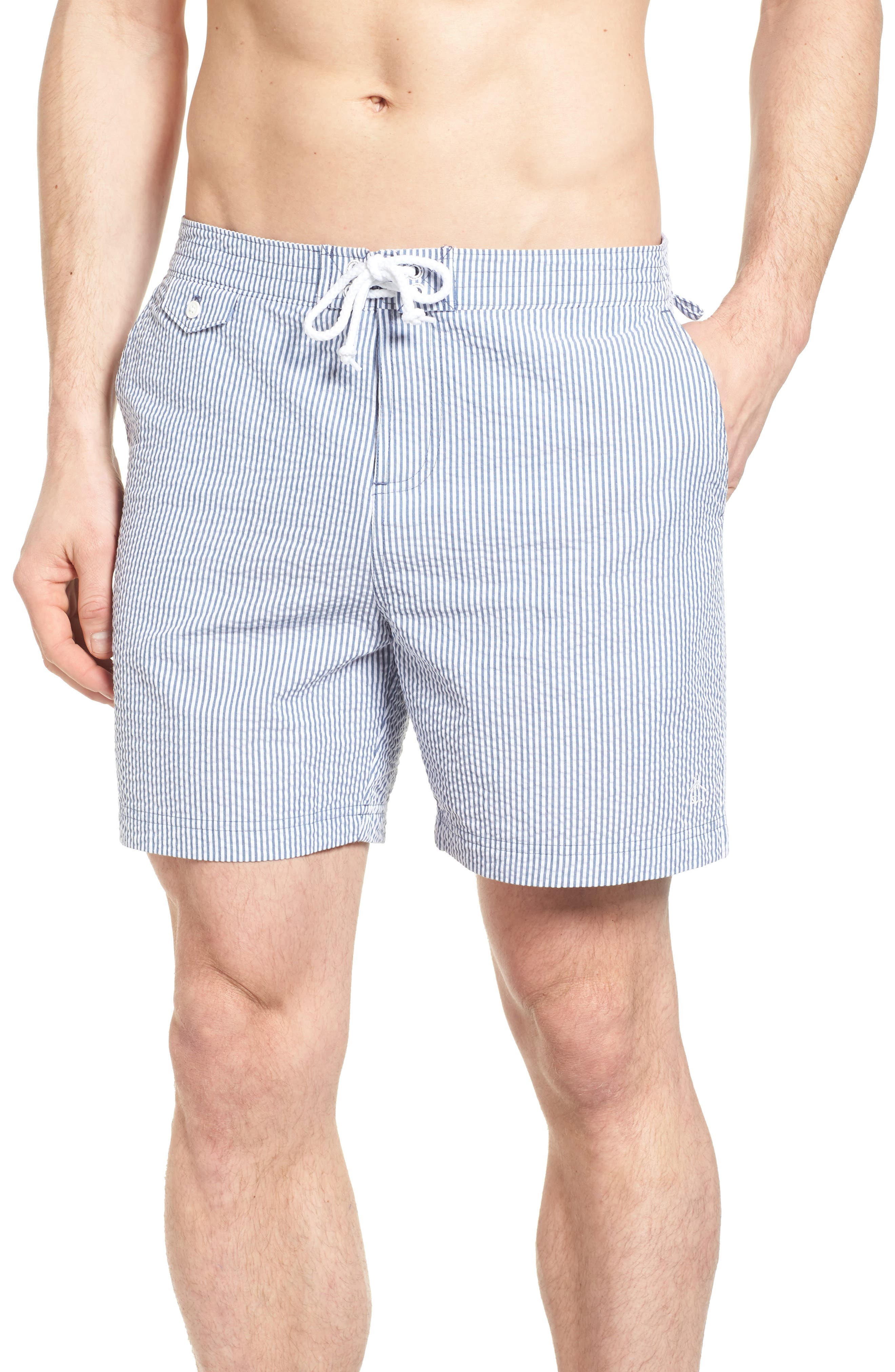 Original Penguin Seersucker Stripe Swim Trunks