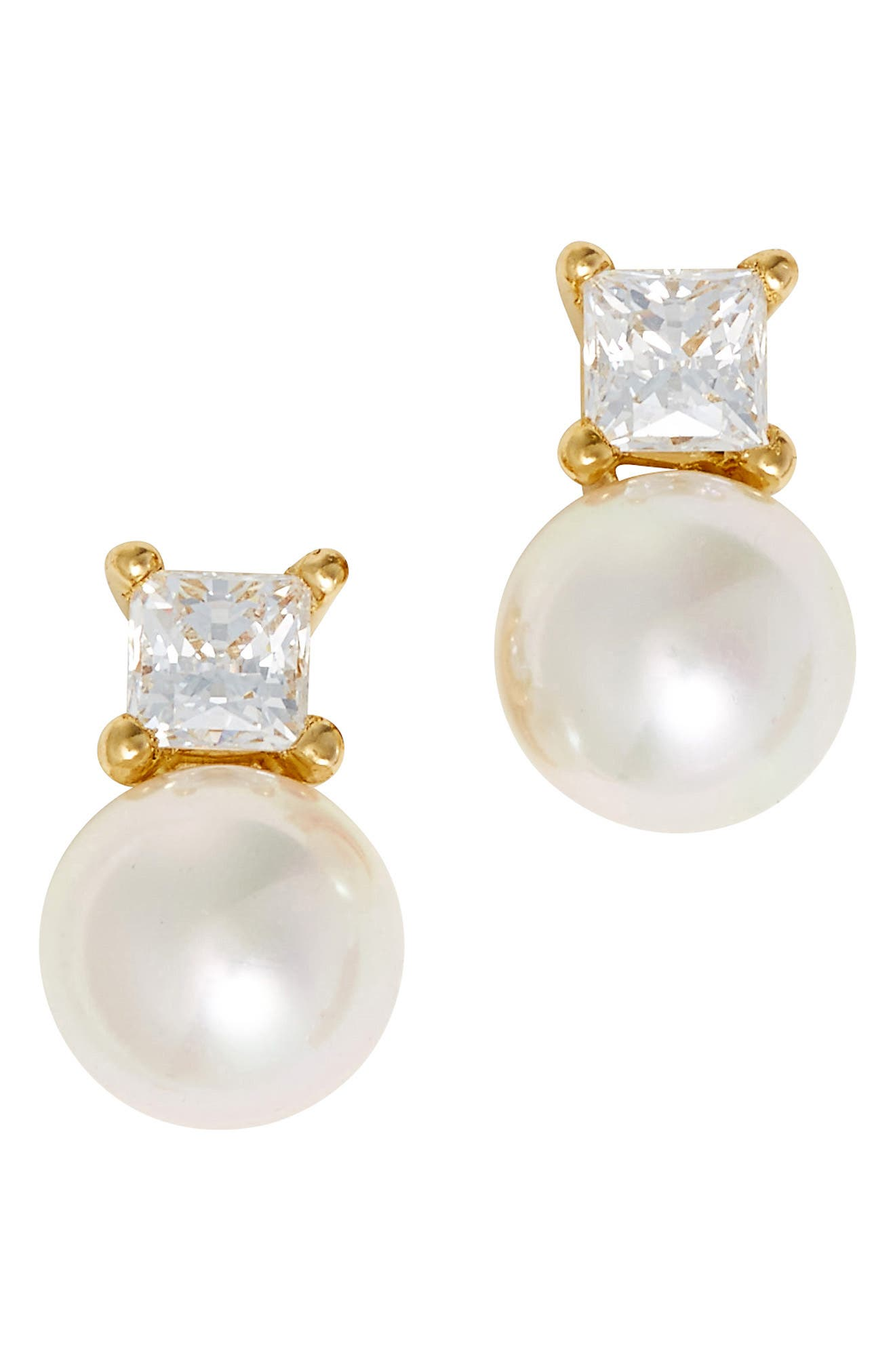 Majorica Cubic Zirconia & Faux Pearl Stud Earrings
