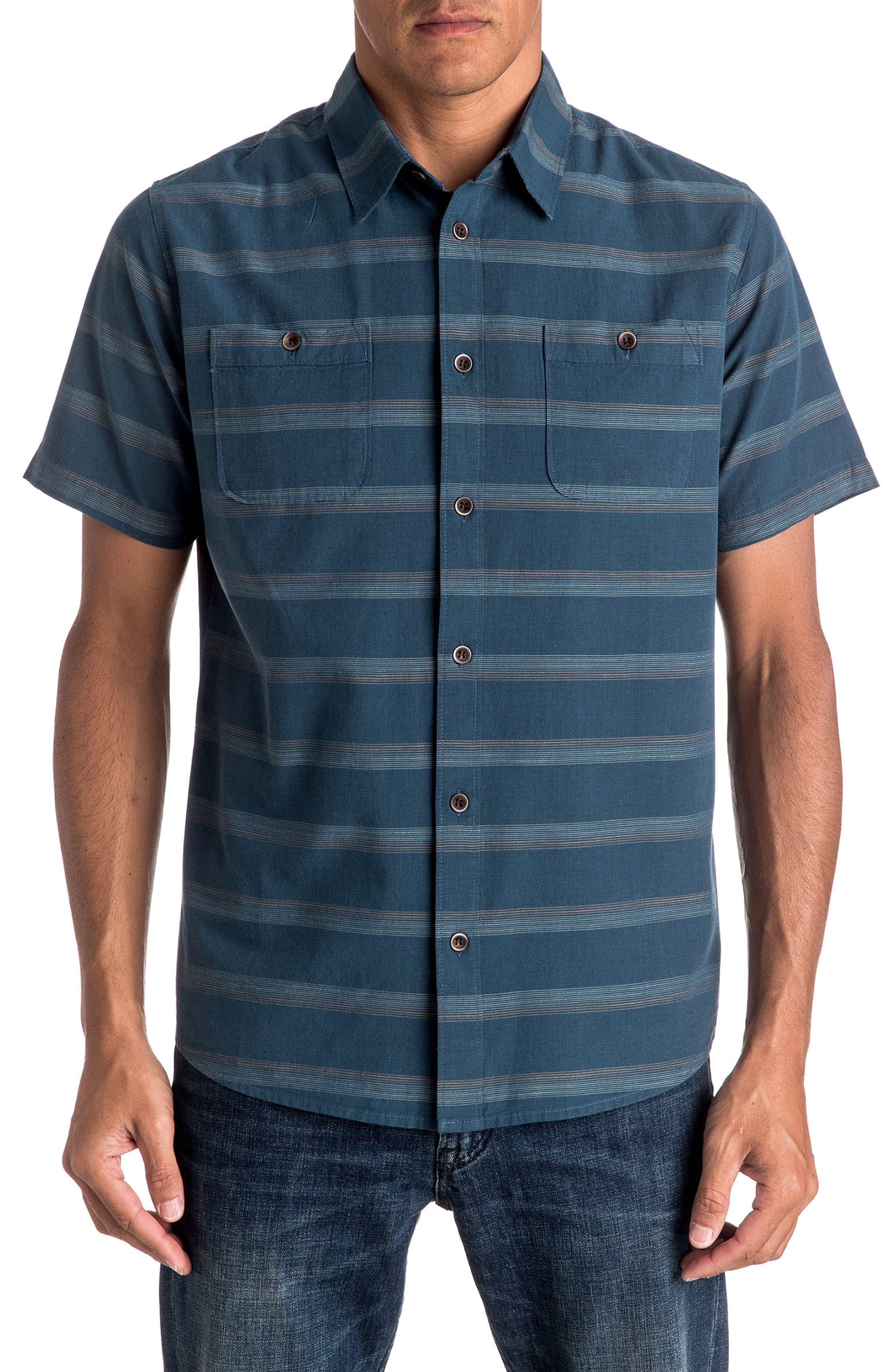 Quiksilver St. Vincent Stripe Short Sleeve Sport Shirt