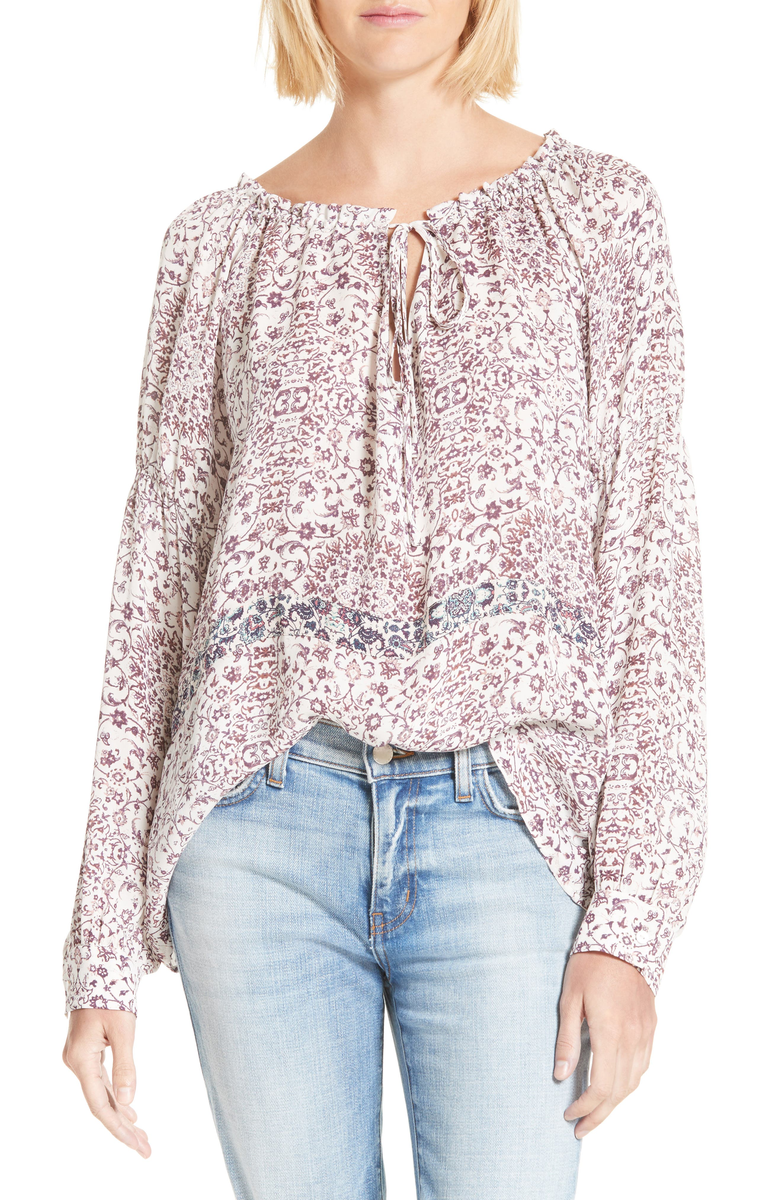 L'AGENCE Crawford Floral Print Silk Blouse