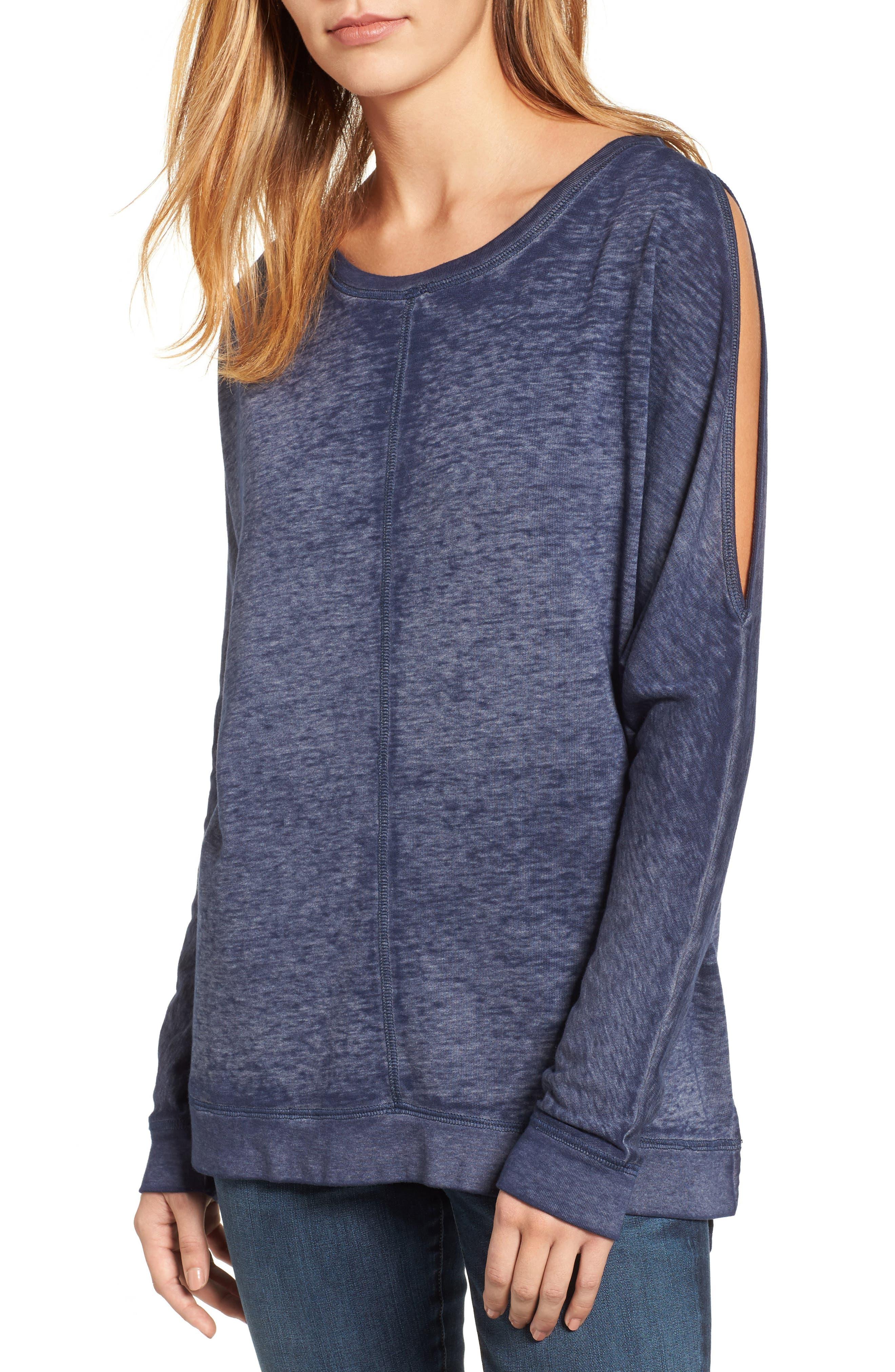 Caslon® Cold Shoulder Burnout Sweatshirt (Regular & Petite)