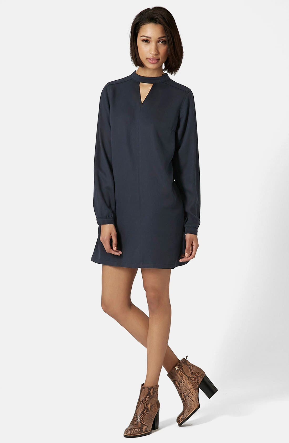 Alternate Image 1 Selected - Topshop Boutique Long Sleeve Smock Dress
