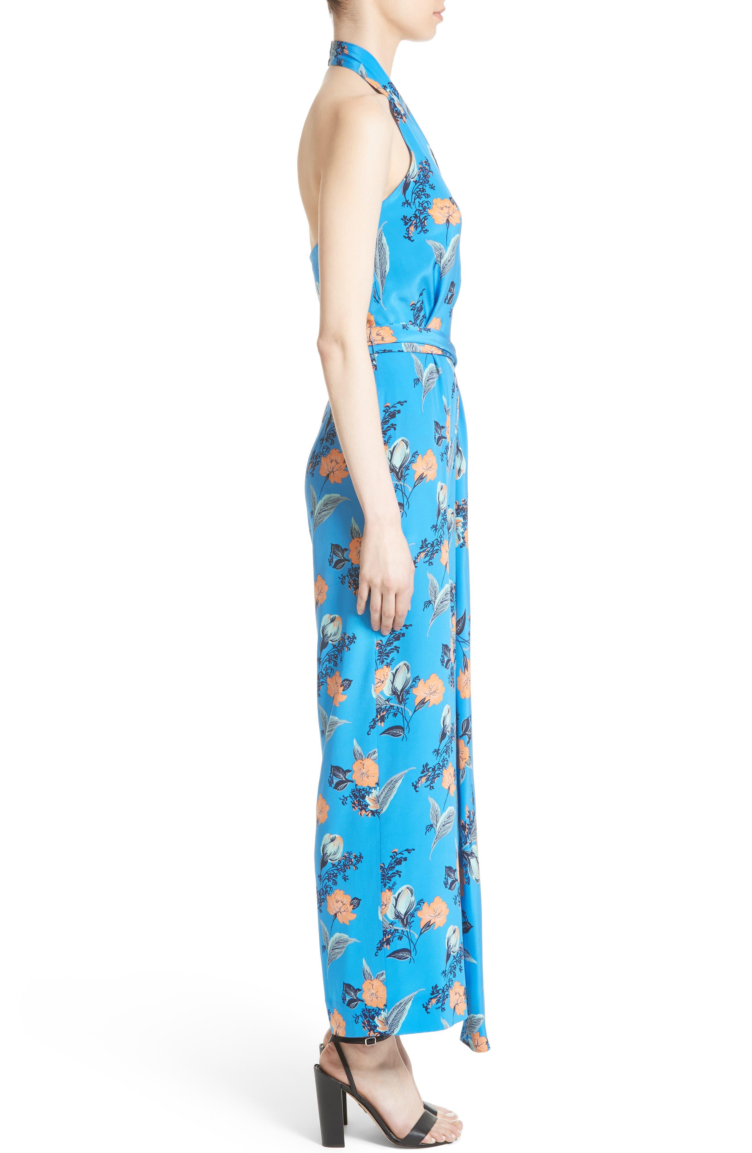 Alternate Image 3  - Diane von Furstenberg Halter Floral Suit Jumpsuit