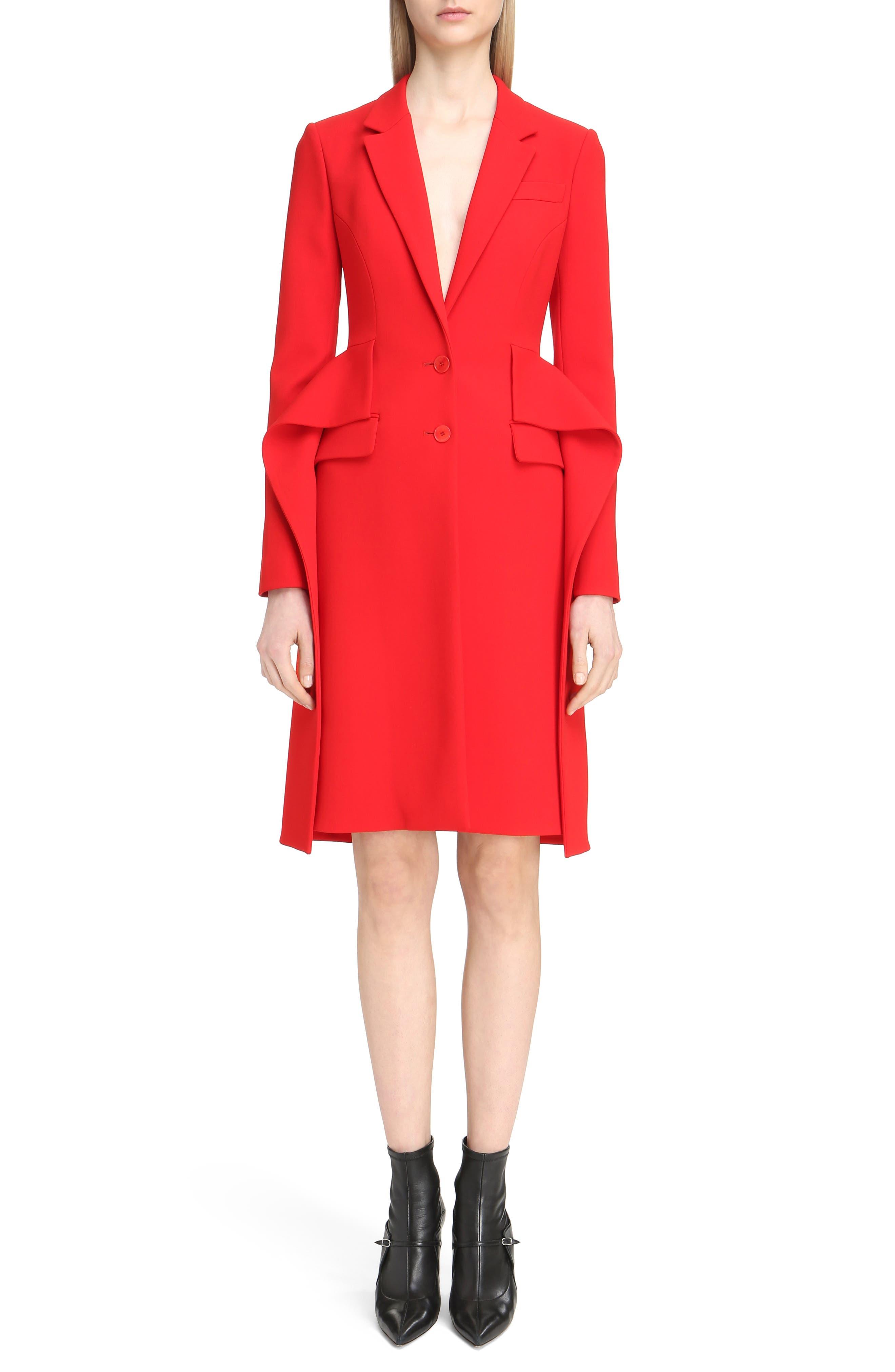 Givenchy Wool Crepe Cutaway Ruffle Coat