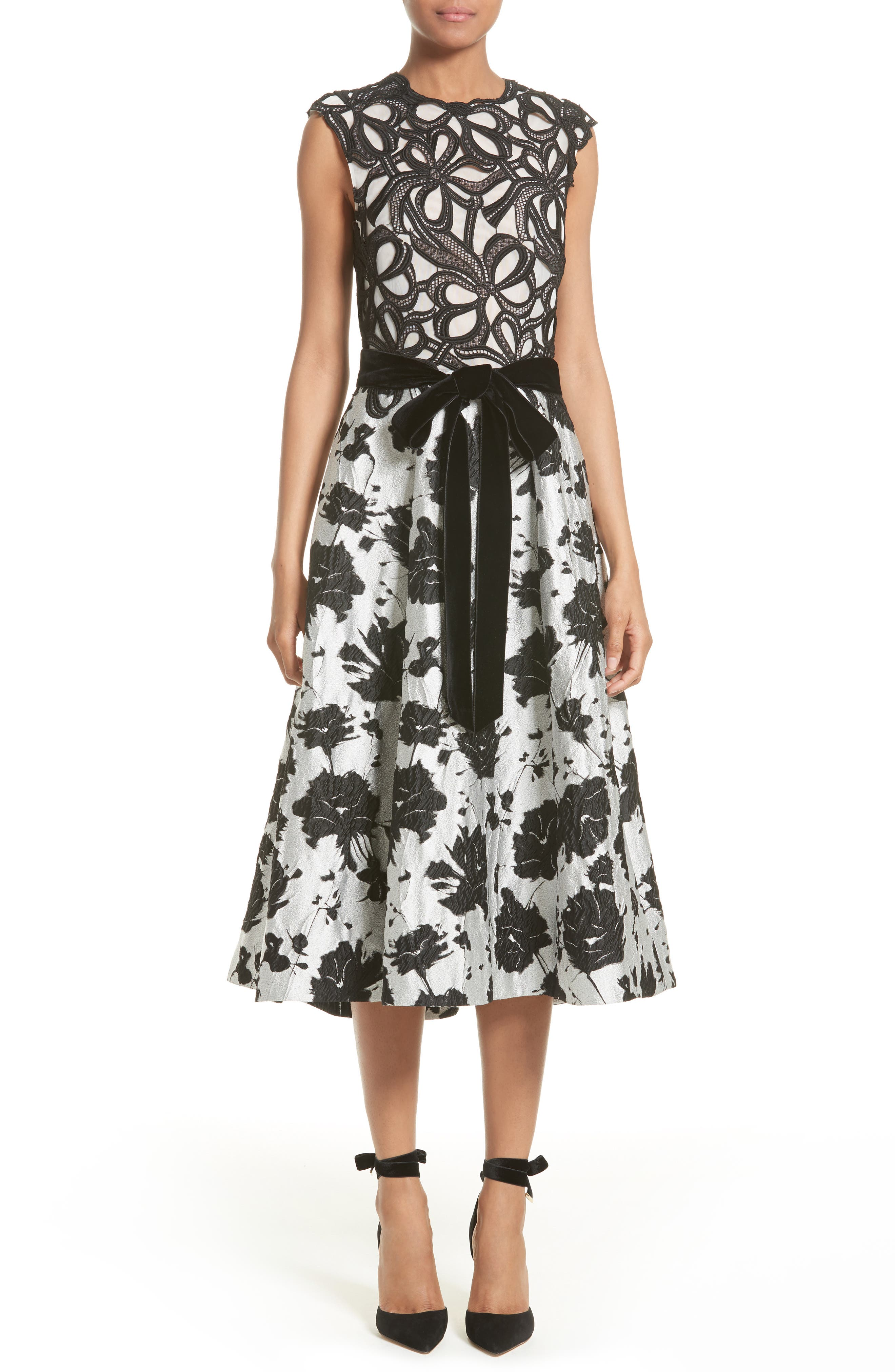 Monique Lhuillier Lace & Jacquard Tea Length Dress