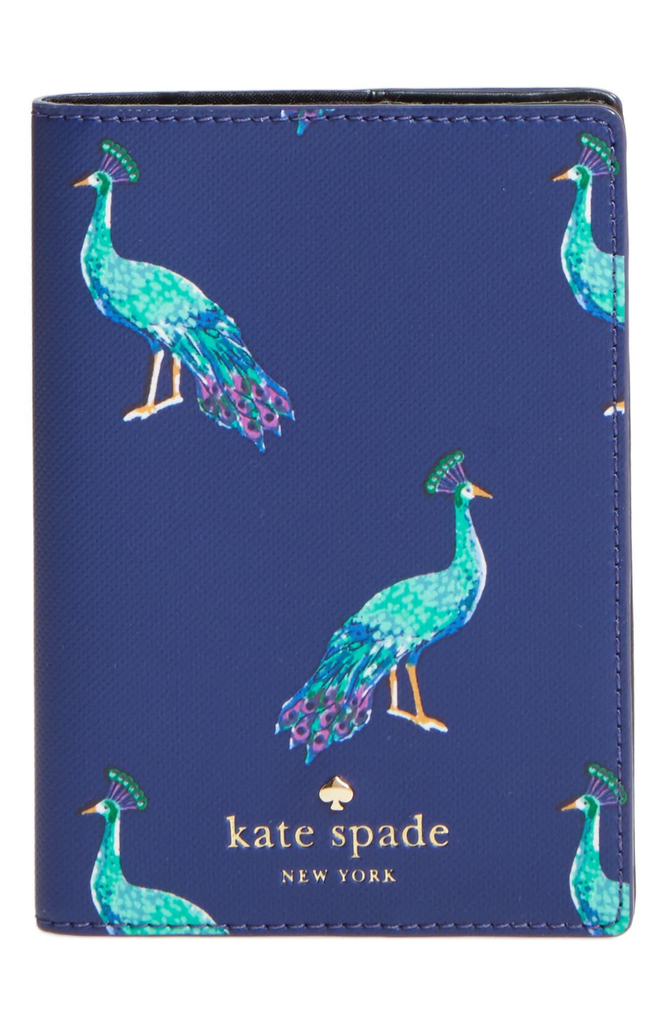 Alternate Image 1 Selected - kate spade new york peacock passport holder
