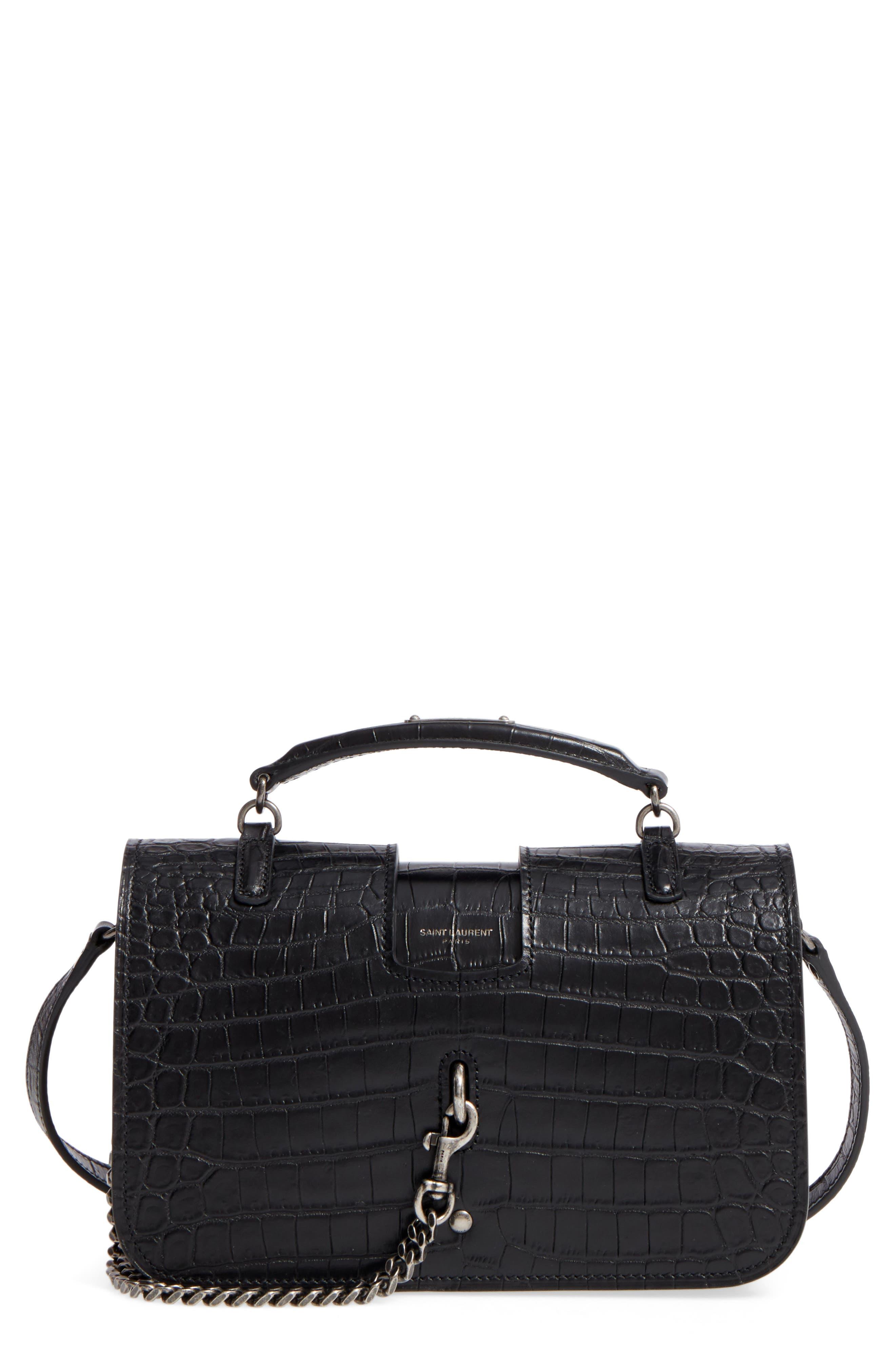 Saint Laurent Croc Embossed Leather Messenger Bag