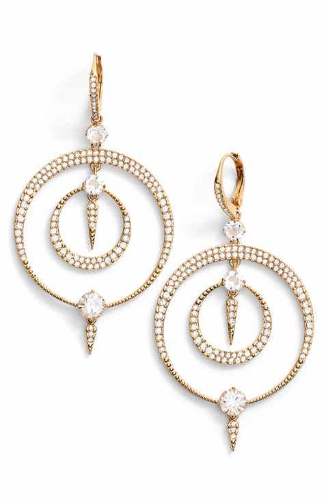 Nadri Gwen Crystal Hoop Drop Earrings