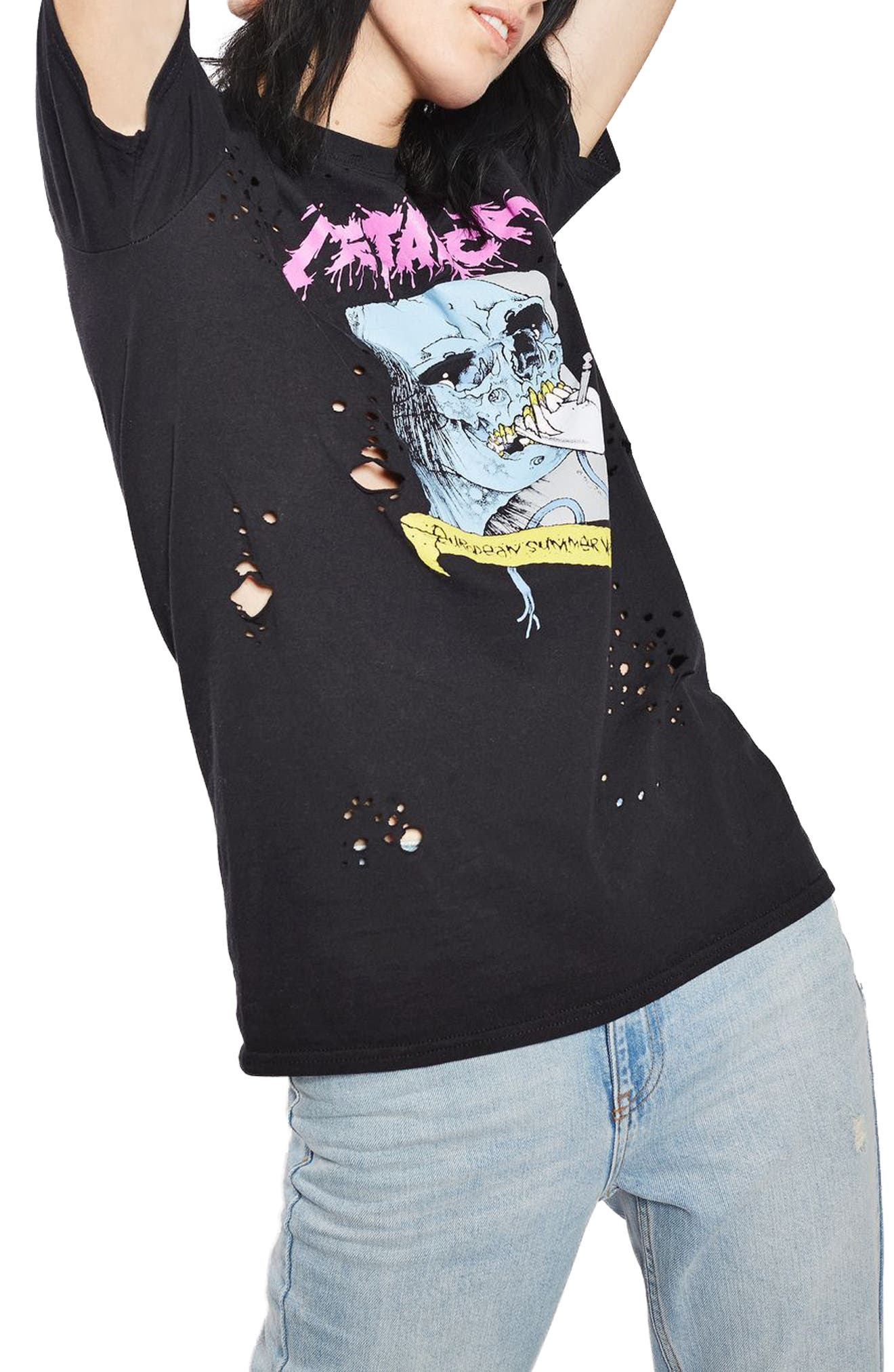 Main Image - Topshop by And Finally Nibbled Metallic Tee