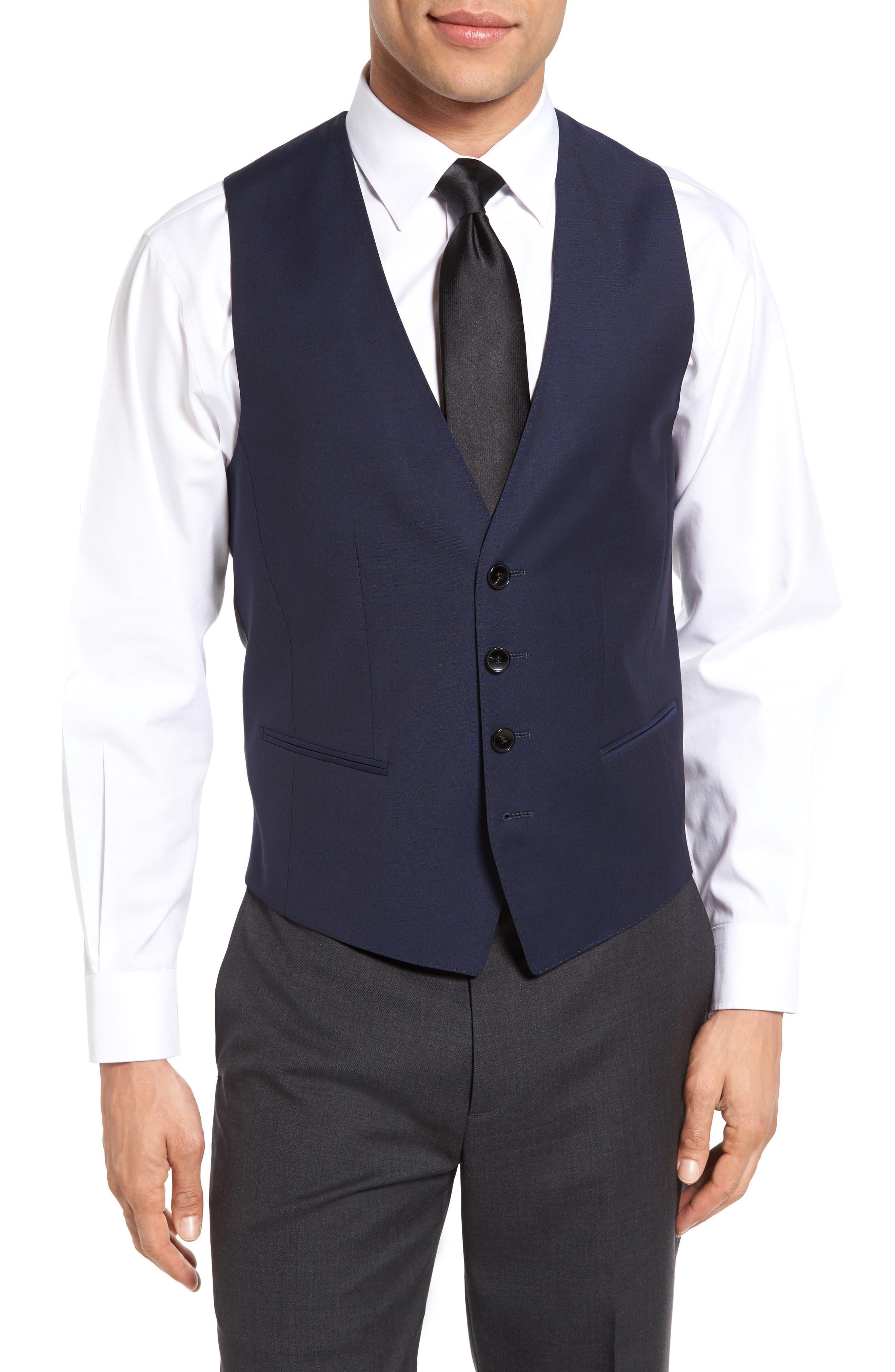 BOSS Trim Fit Solid Wool Vest