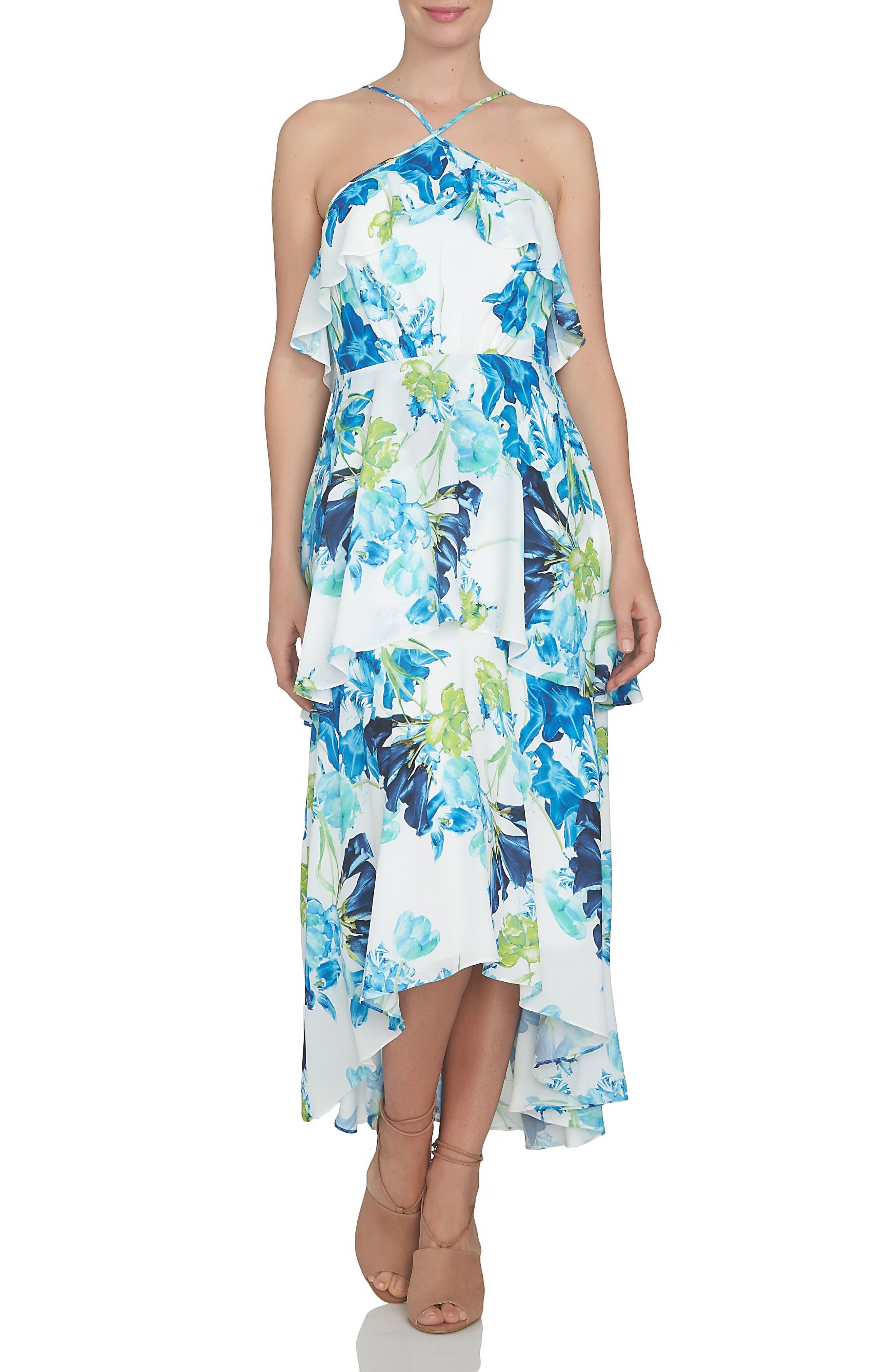 CeCe Floral Ruffle Tier High/Low Dress