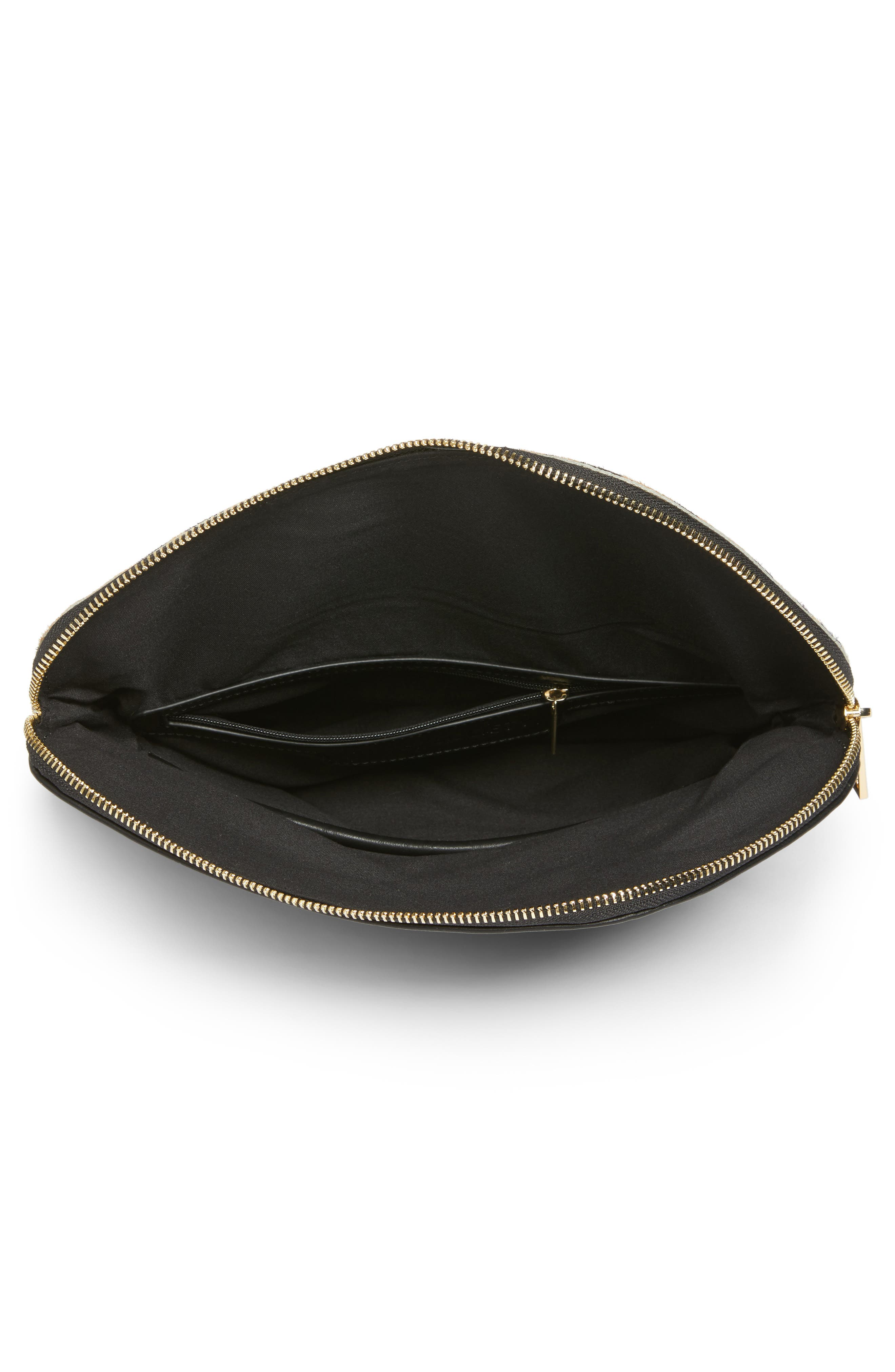 Alternate Image 4  - Sole Society Tamika Genuine Calf Hair & Faux Leather Foldover Clutch