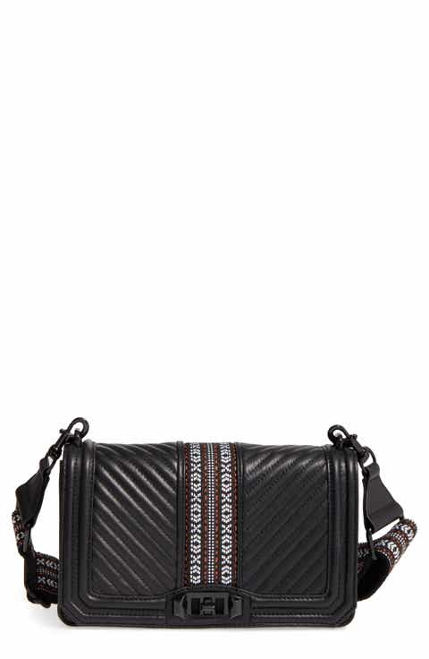 Rebecca Minkoff Jacquard Love Leather Crossbody Bag with Guitar Strap