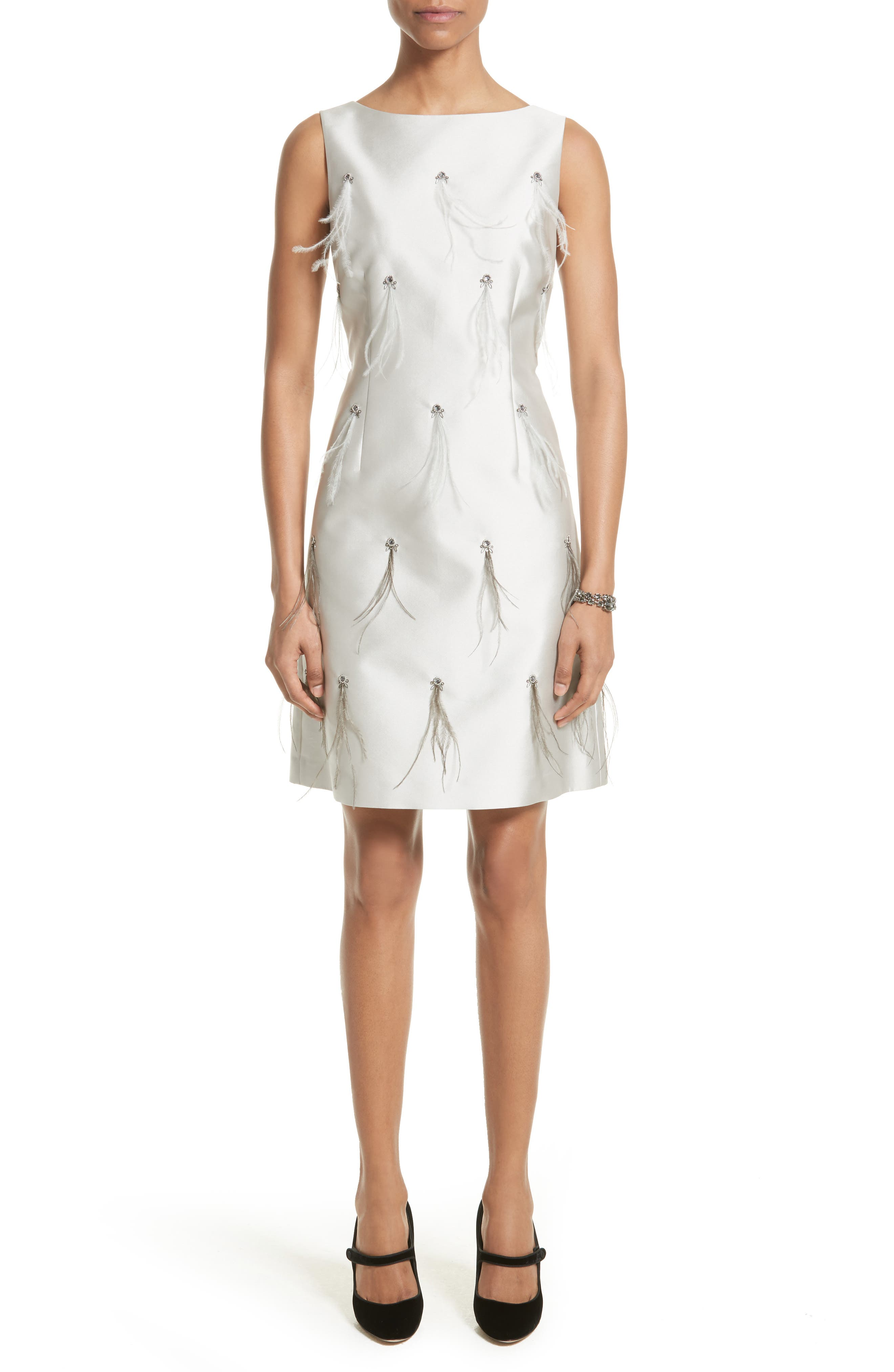 St. John Collection Mikado Embellished A-Line Dress