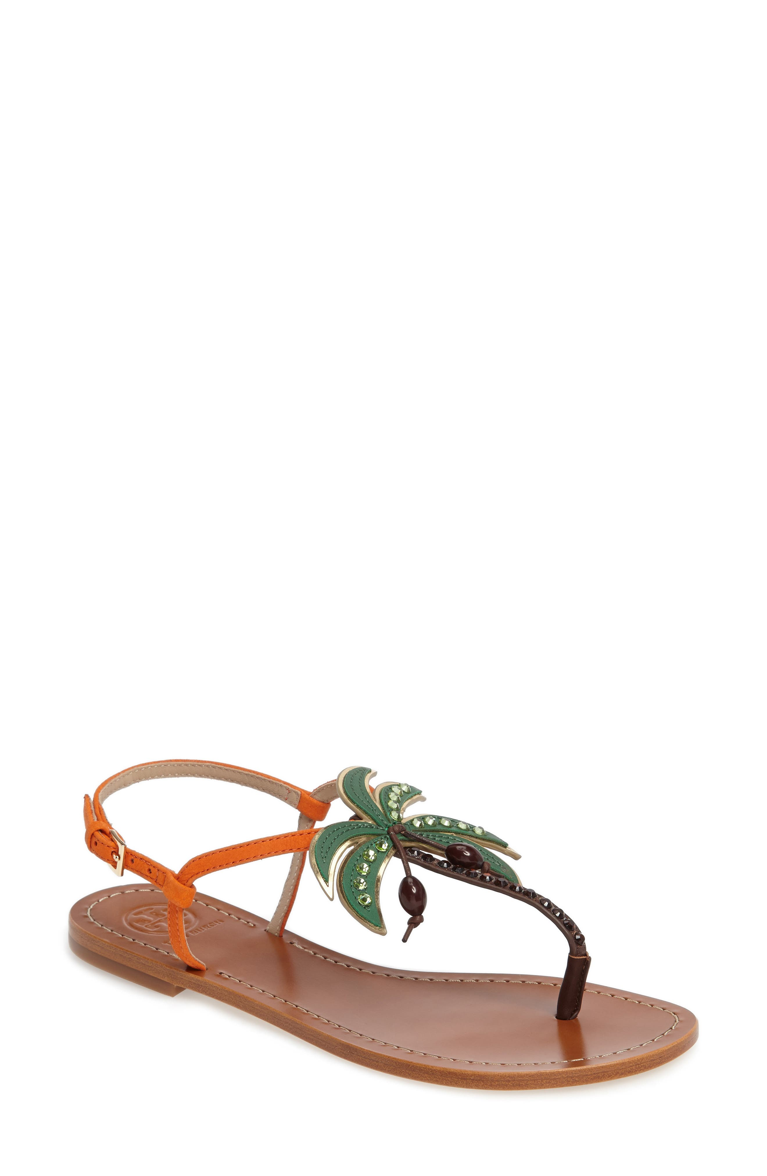 Main Image - Tory Burch Castaway Embellished Palm Tree Sandal (Women)