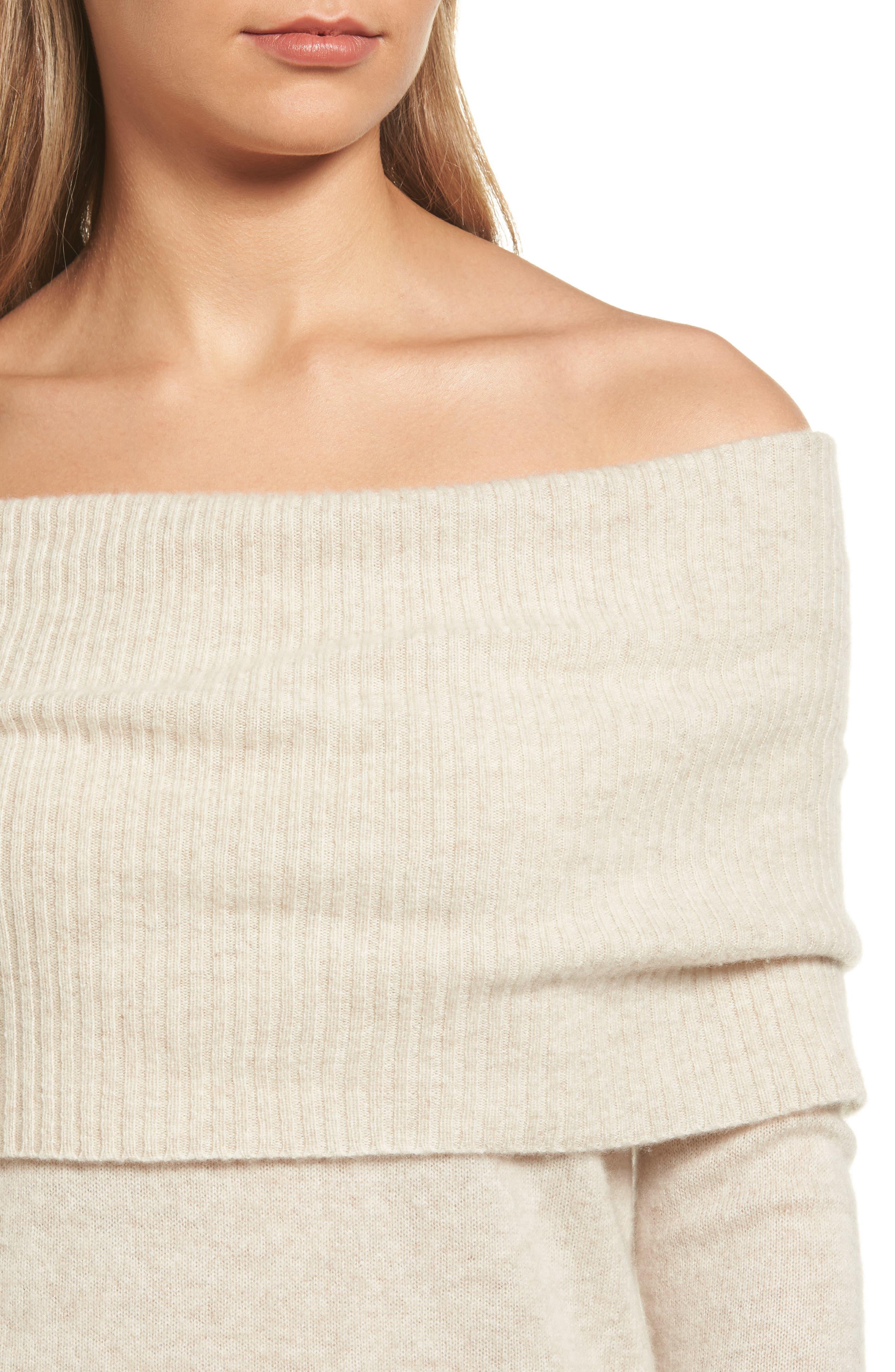 Alternate Image 4  - Halogen® Cashmere Off the Shoulder Sweater (Regular & Petite)