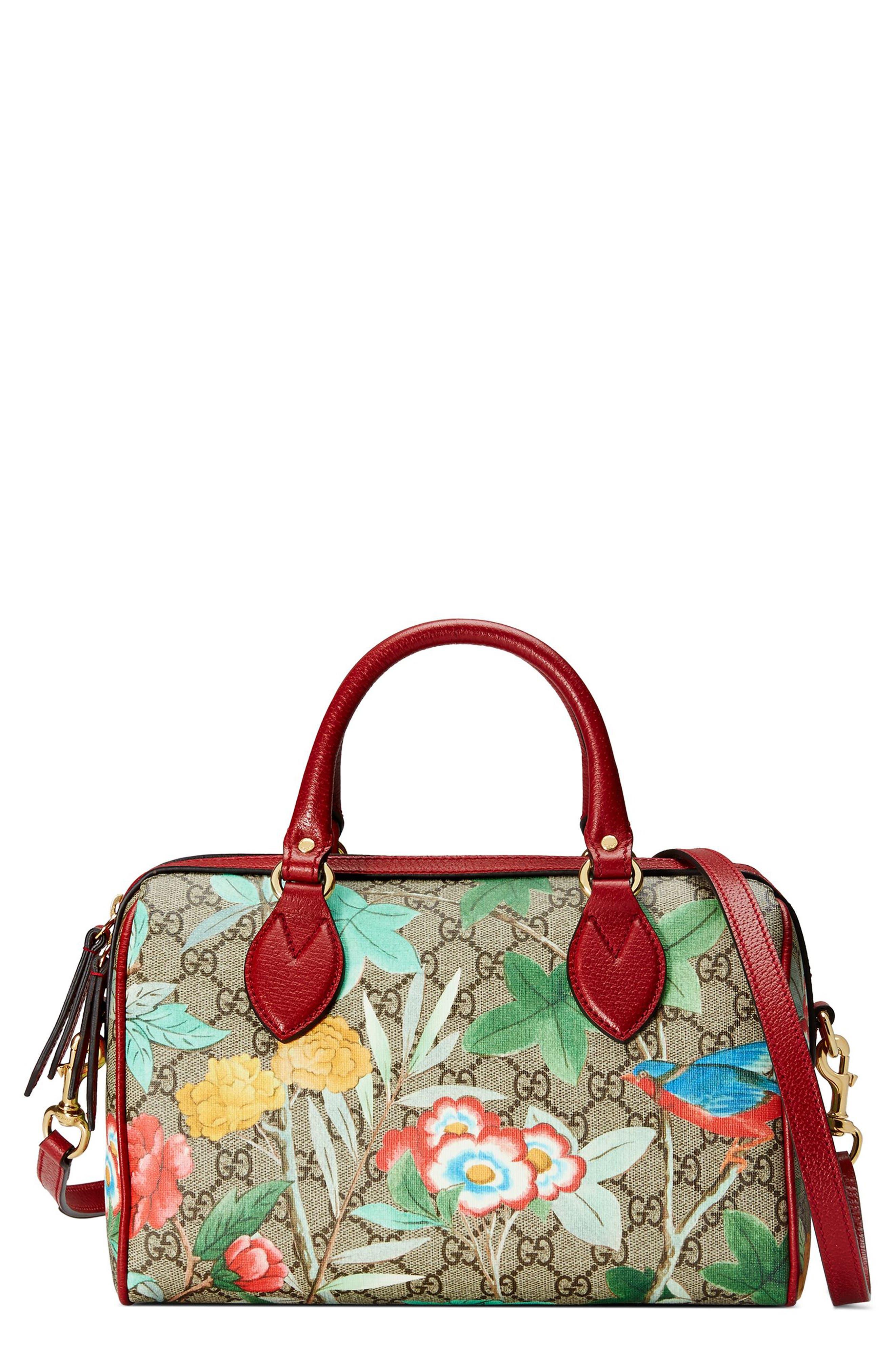 Gucci Tian Boston GG Supreme Small Canvas Duffel Bag