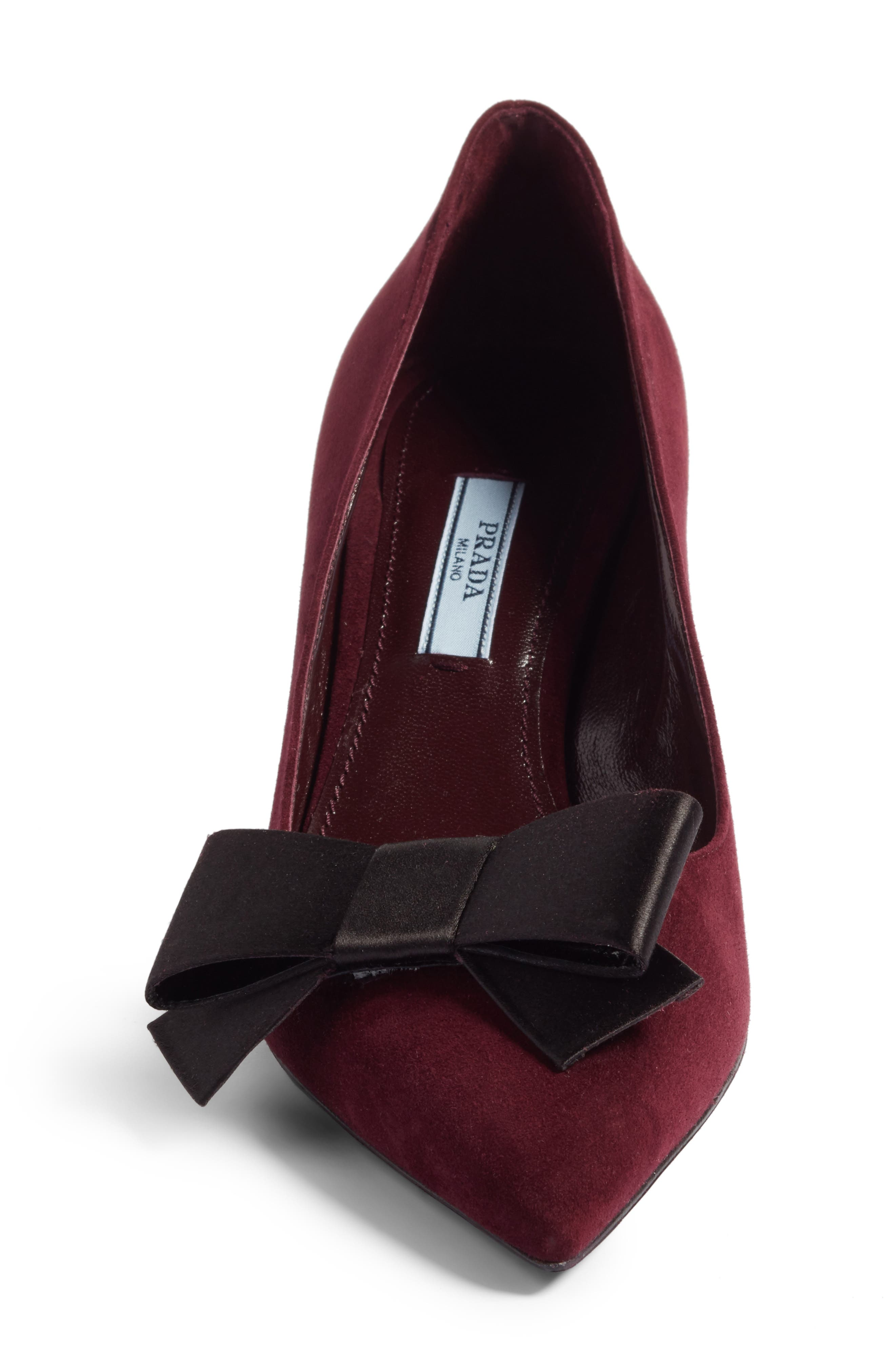 Alternate Image 4  - Prada Bow Pointy Toe Pump (Women)