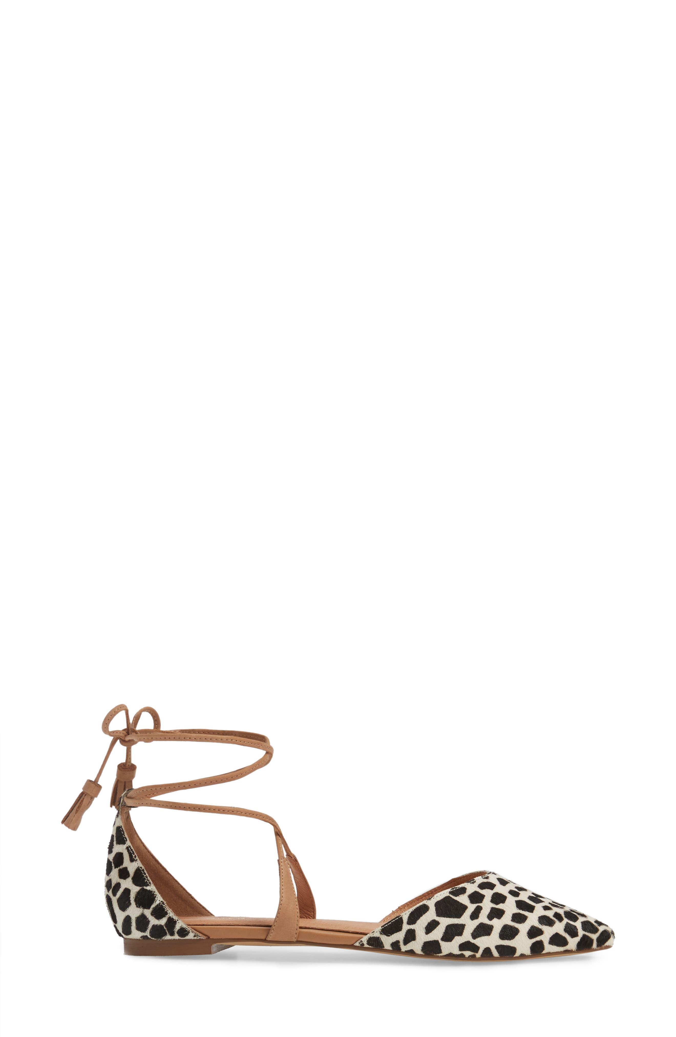 Alternate Image 3  - Halogen® Oliver Genuine Calf Hair Ankle Wrap Flat (Women)