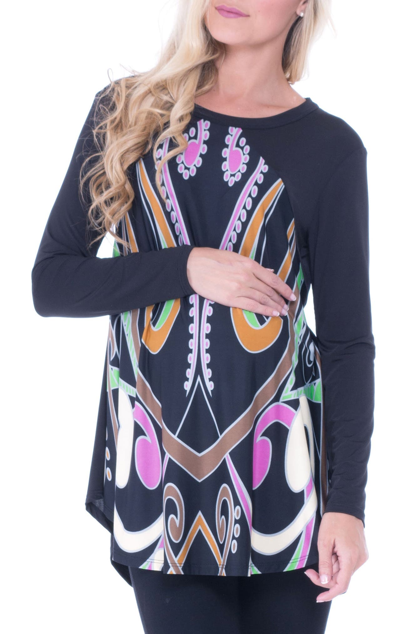 Olian Graphic Raglan Maternity Top
