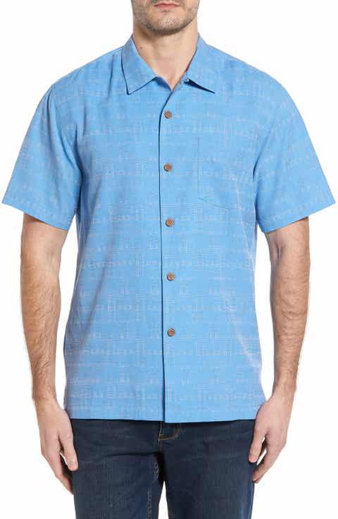 Tommy Bahama Original Fit Jacquard Silk Camp Shirt (Big   Tall)