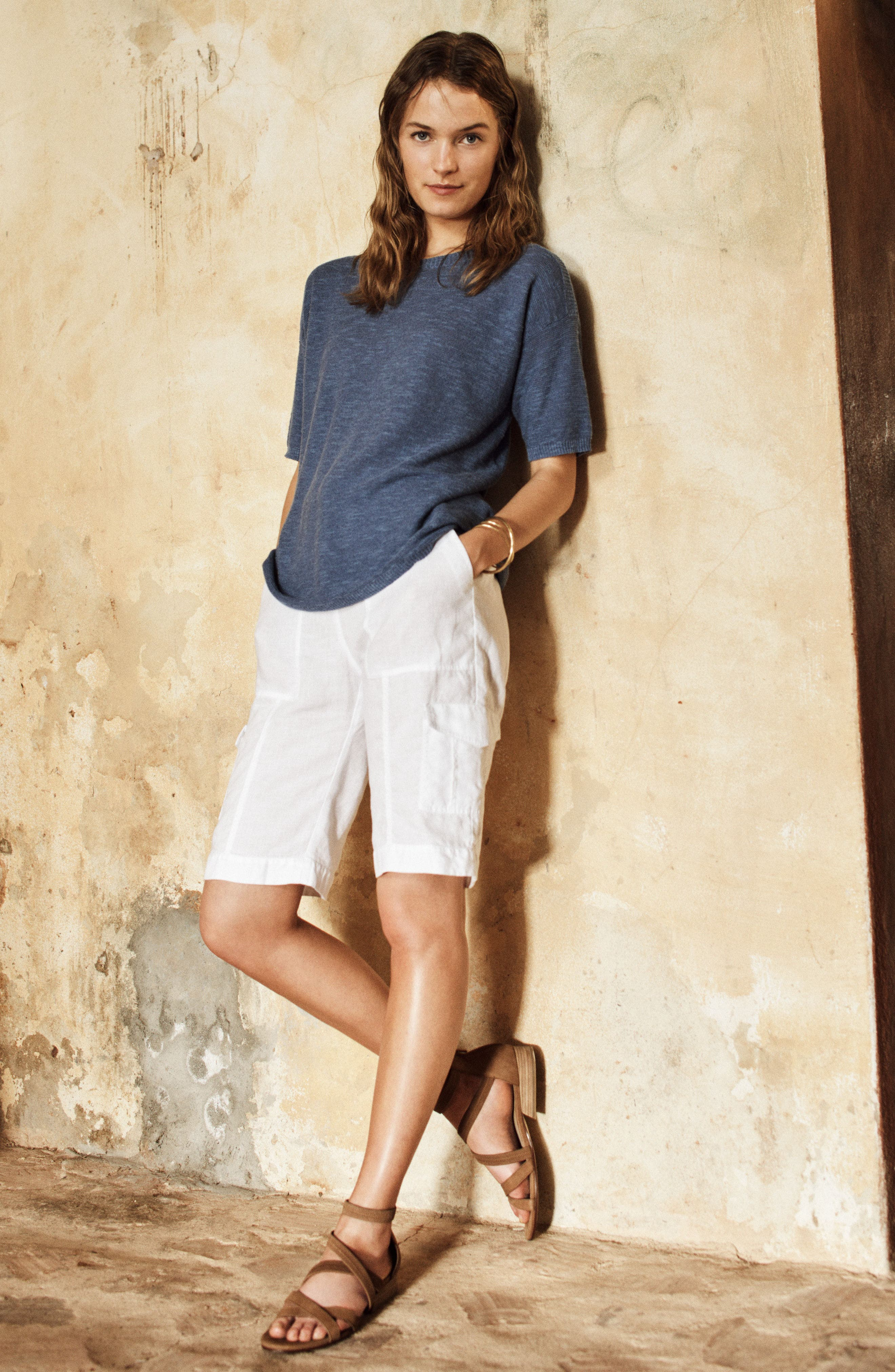 Eileen Fisher Pullover & Shorts Outfit with Accessories